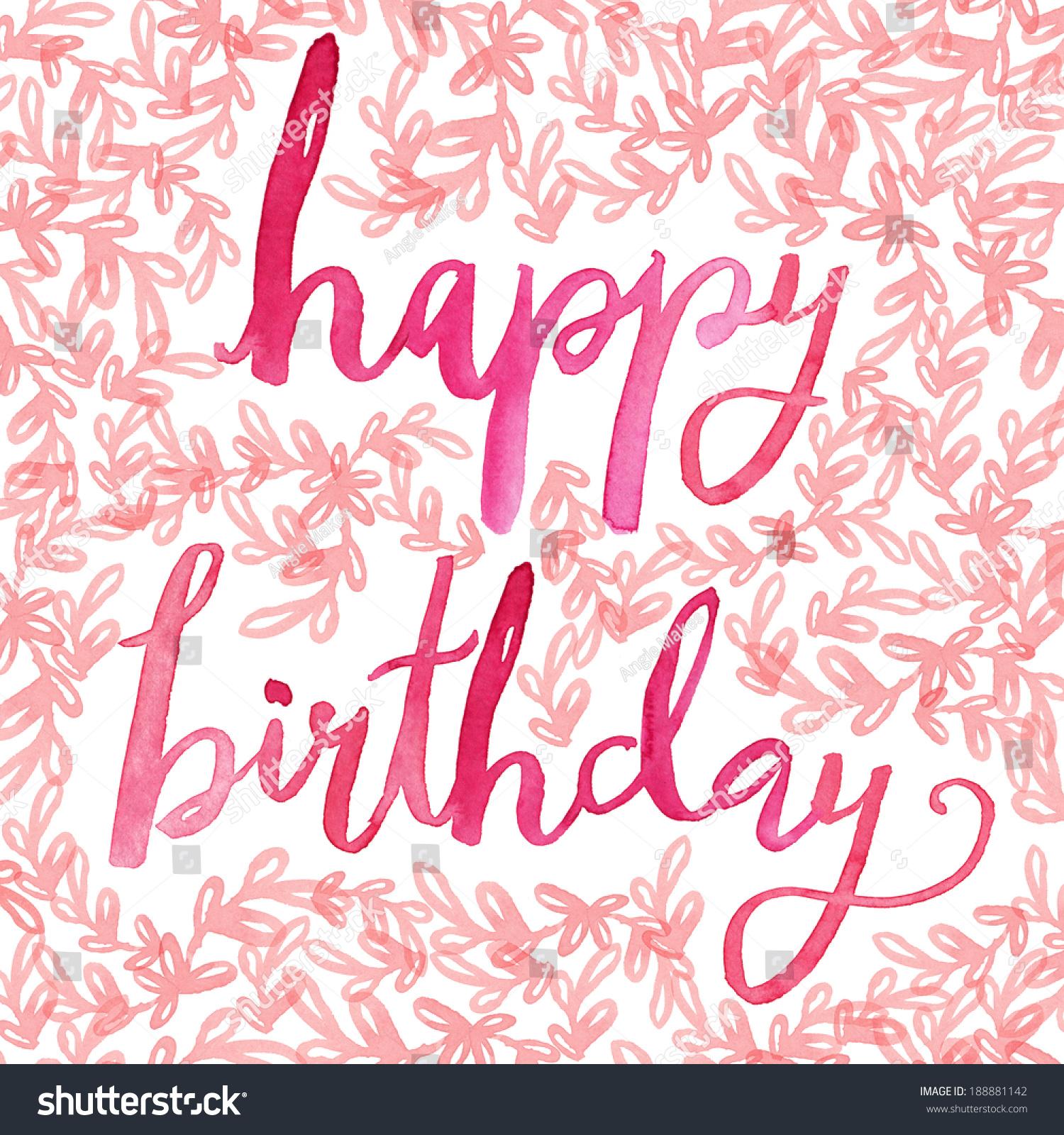 Happy birthday script calligraphy hand