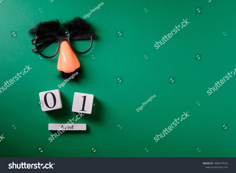 Mustache overhead glasses, April 1, joke, April fools day #1888979074