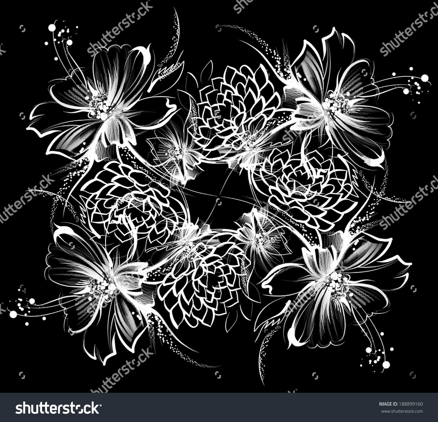 Flowers Drawing White Chalk On Black Stock Illustration 188899160