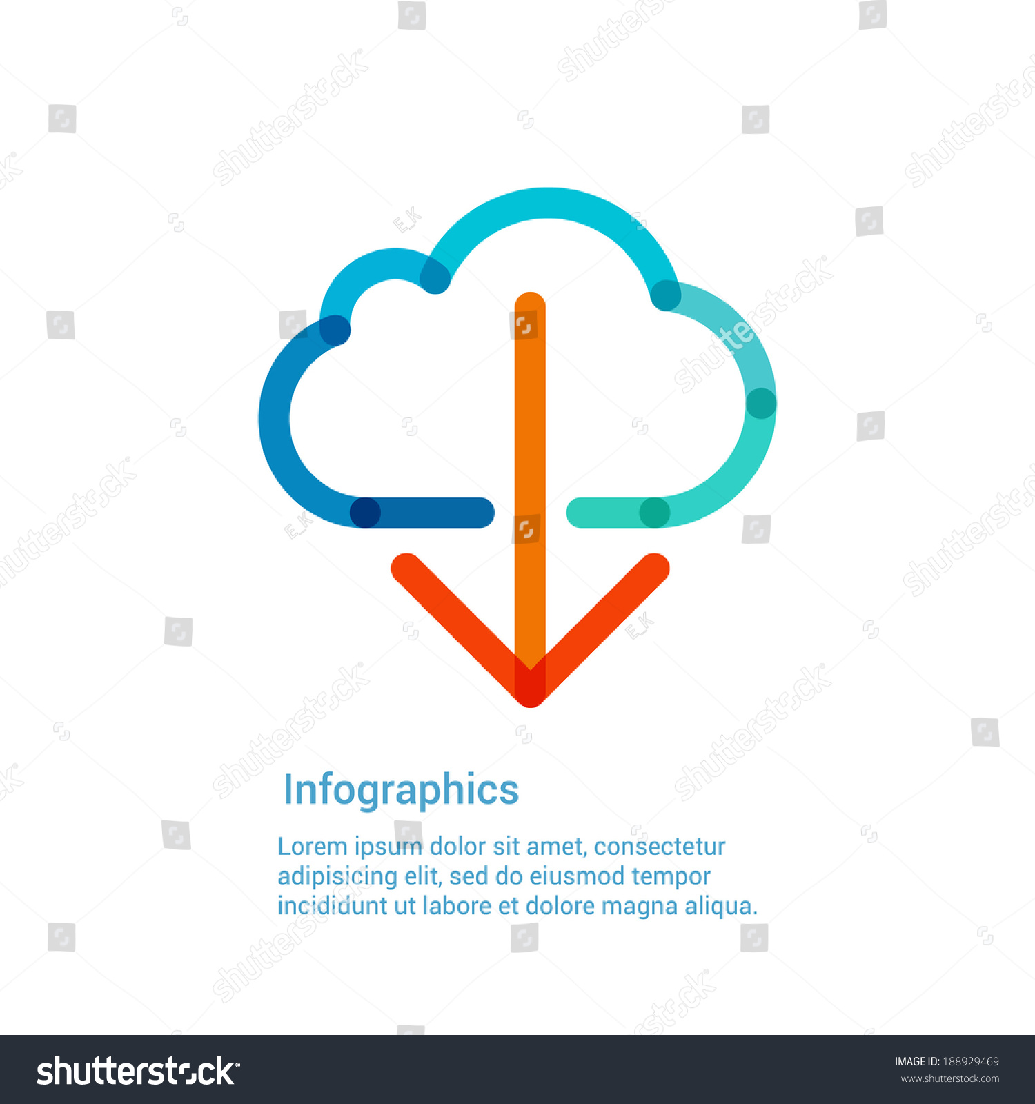 cloud template with lines - download from the internet cloud flat line icon