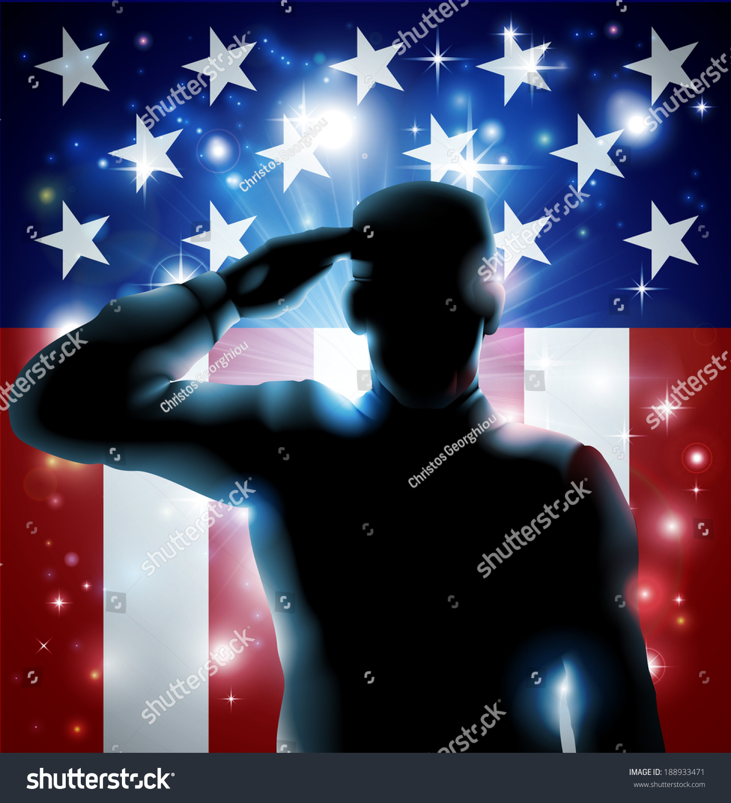 patriotic soldier veteran saluting front american stock