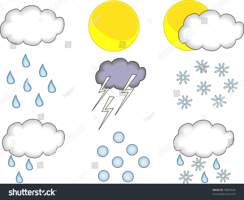 Set Different Weather Forecast Symbols Stock Illustration 18893596
