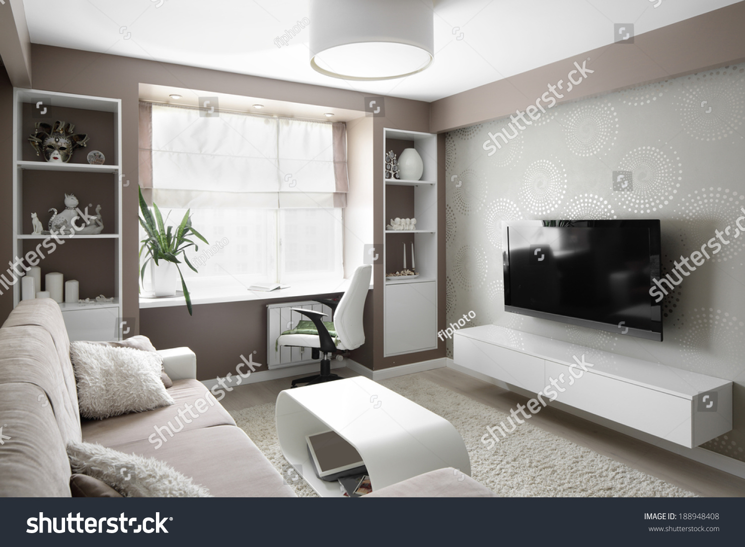 Big And Bright Interior Of Modern Living Room Stock Photo