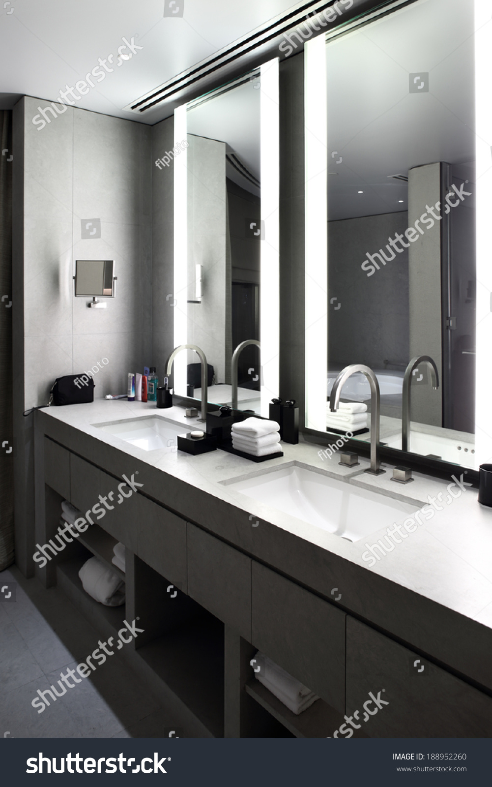 Beautiful interior modern toilet bright colors stock photo 188952260 shutterstock - Lavish white and grey kitchen for hygienic and bright view ...