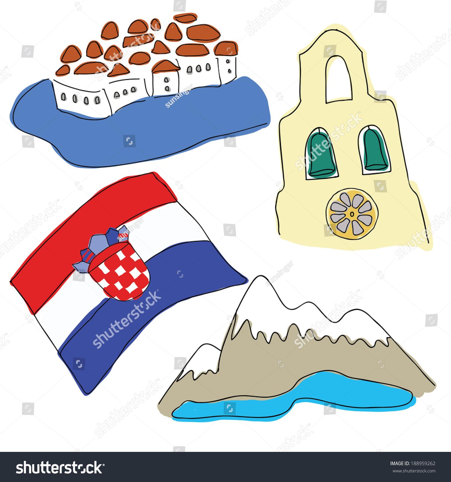 Vector Symbols Croatia Stock Vector Royalty Free 188959262