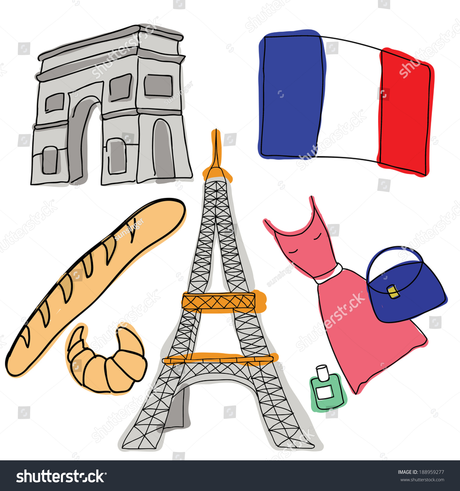 Vector Symbols France Stock Vector Royalty Free 188959277