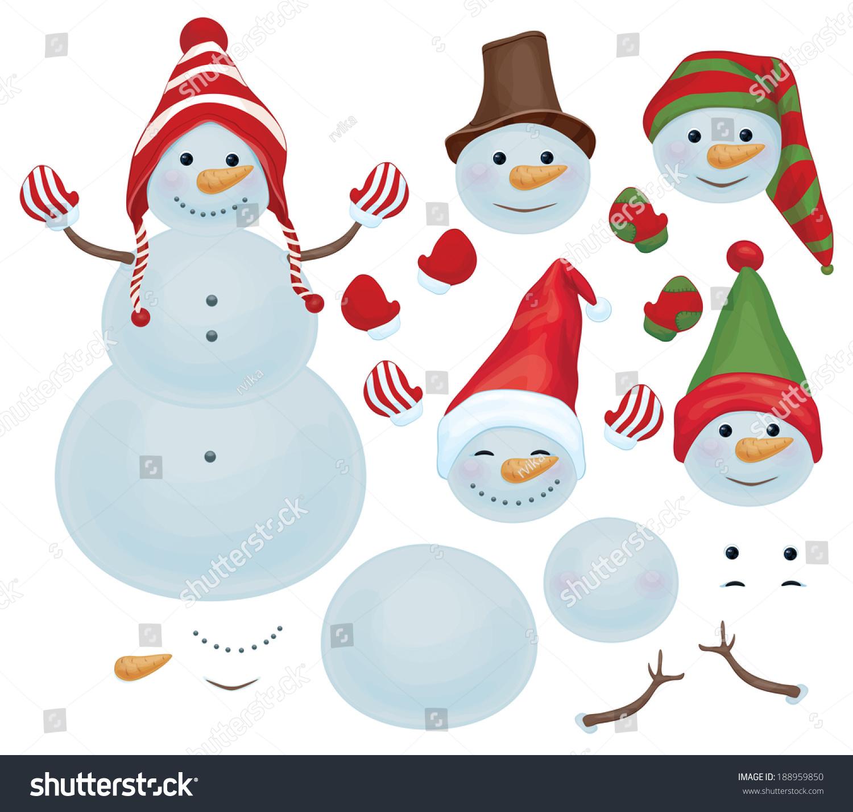 Vector Snowman Template Make Own Snowman Vector 188959850 – Snowman Template