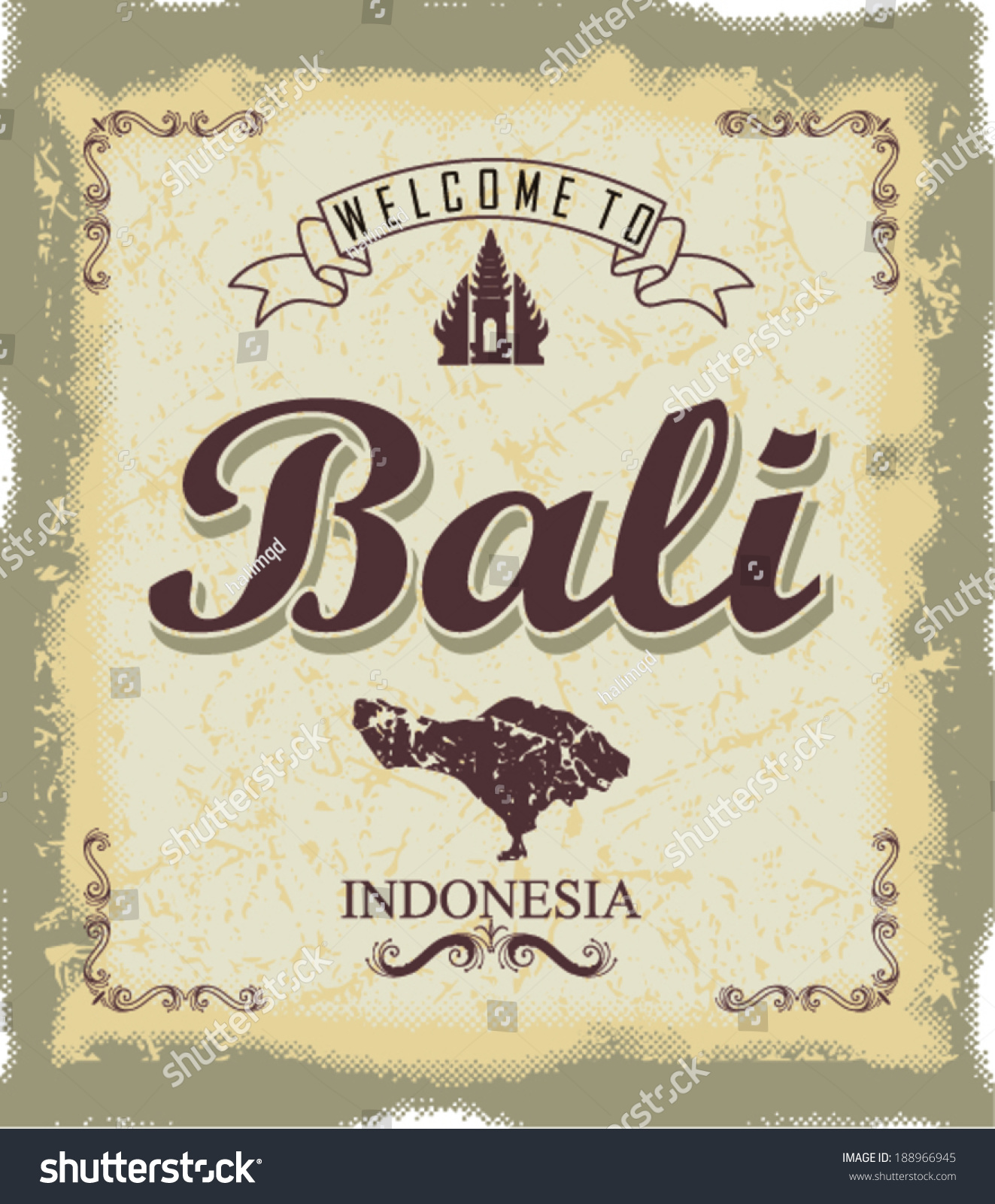 Vintage touristic welcome bali stock vector royalty free 188966945 vintage touristic welcome to bali thecheapjerseys Gallery