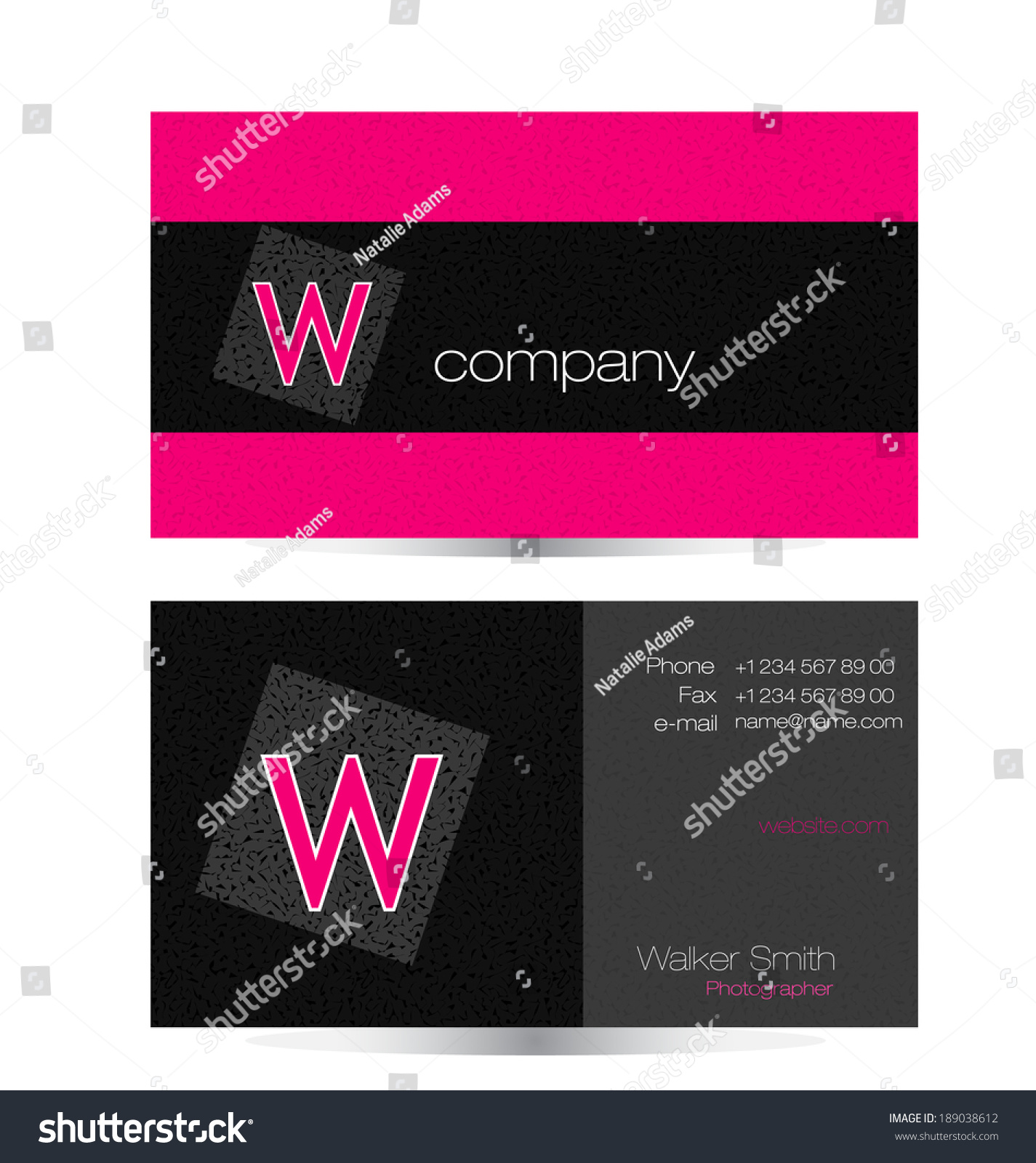 Elegant Black Pink Business Card Template Stock Vector 189038612 ...