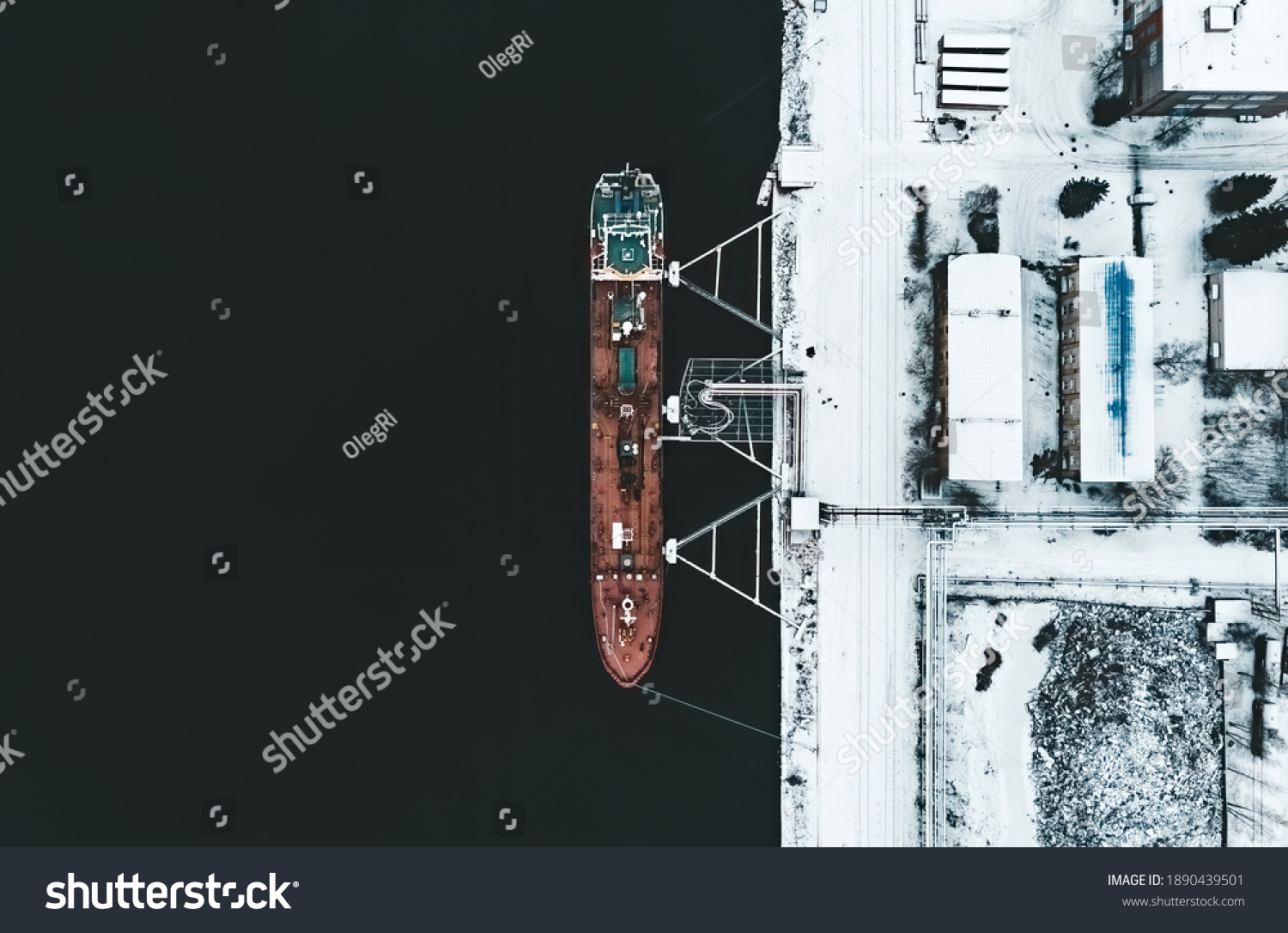 Cargo ship in the harbor at winter. #1890439501