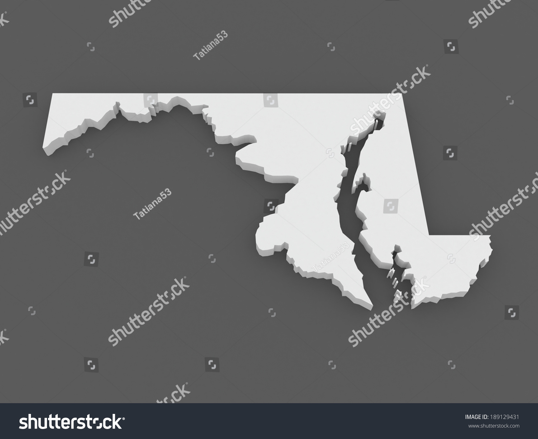 Threedimensional Map Maryland USA 3 D Stock Illustration 189129431 ...