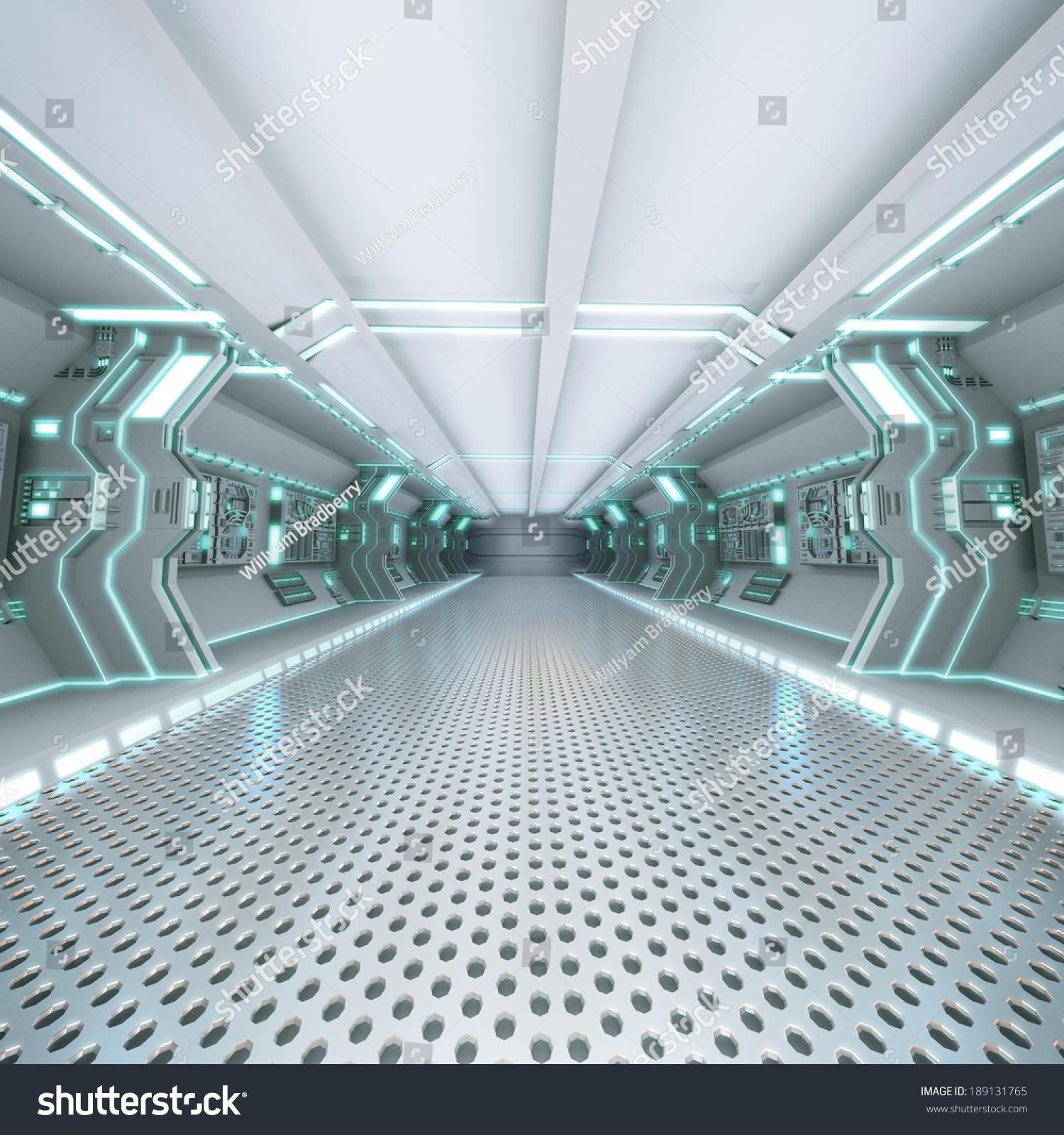 Futuristic Design Spaceship Interior Metal Floor Stock ...
