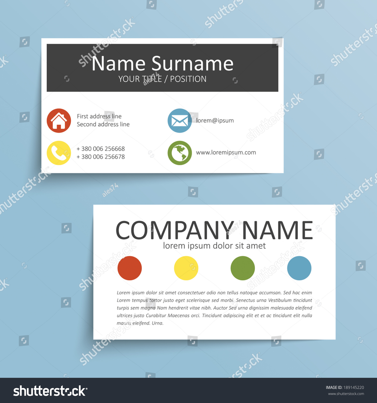 Modern simple business card vector template stock vector 189145220 modern simple business card vector template colourmoves