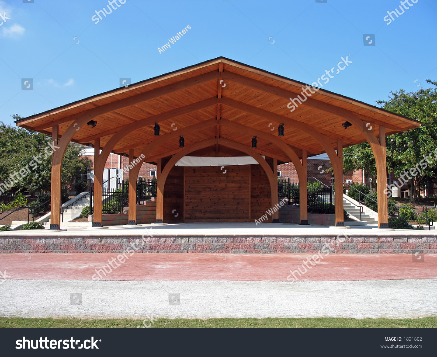 Wooden Outdoor Stage Amphitheater Park Stock Photo 1891802