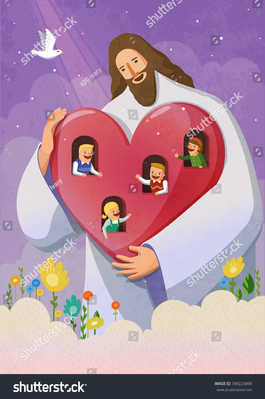 Illustration Religion Jesus Holding Children Stock Illustration ...