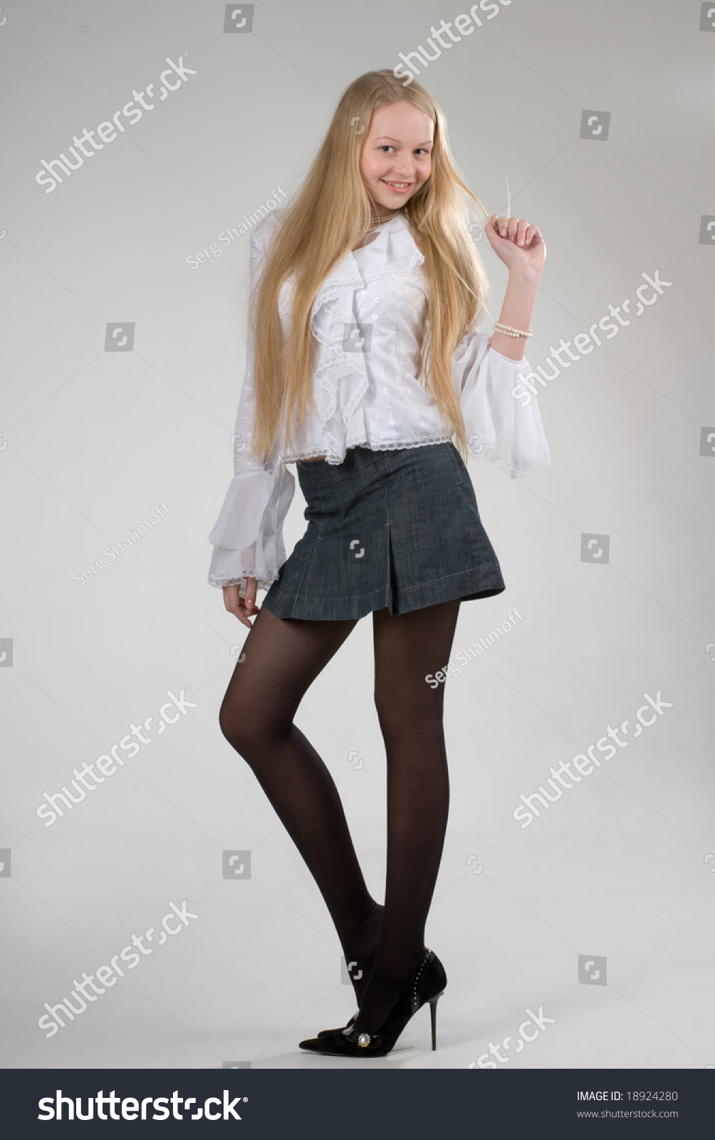 6446779a777 Young Pretty Longhaired Blond Girl Wearing Stock Photo (Edit Now ...