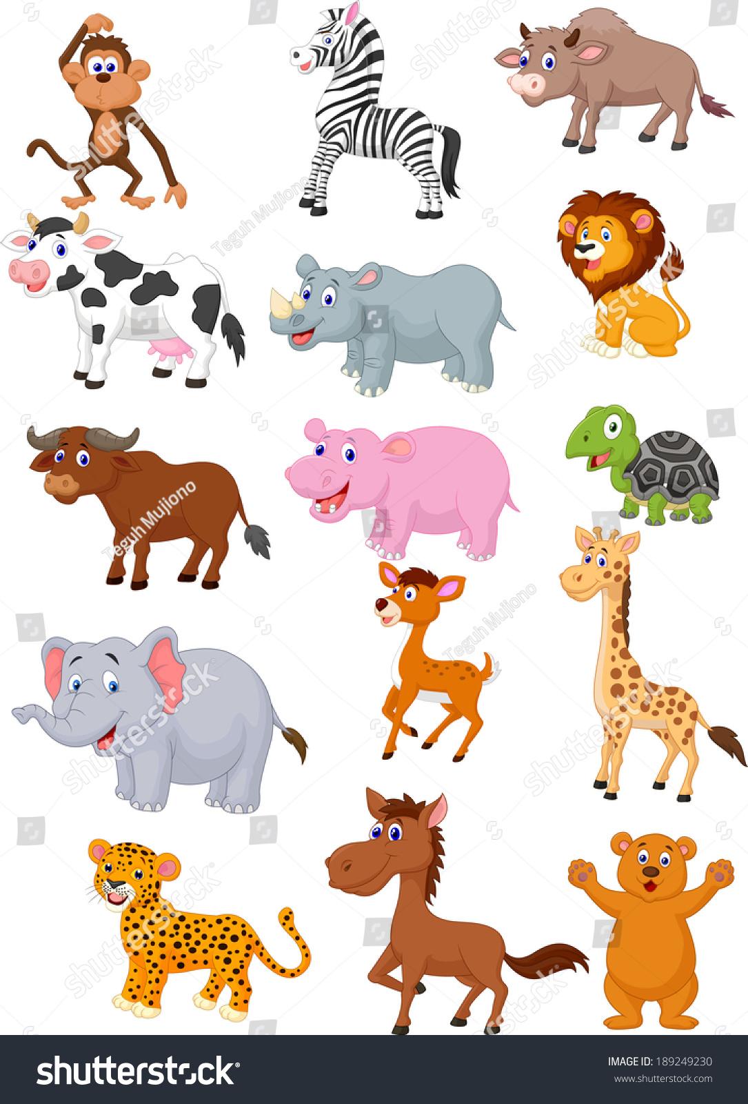 Wild Animal Cartoon Collection Stock Vector 189249230