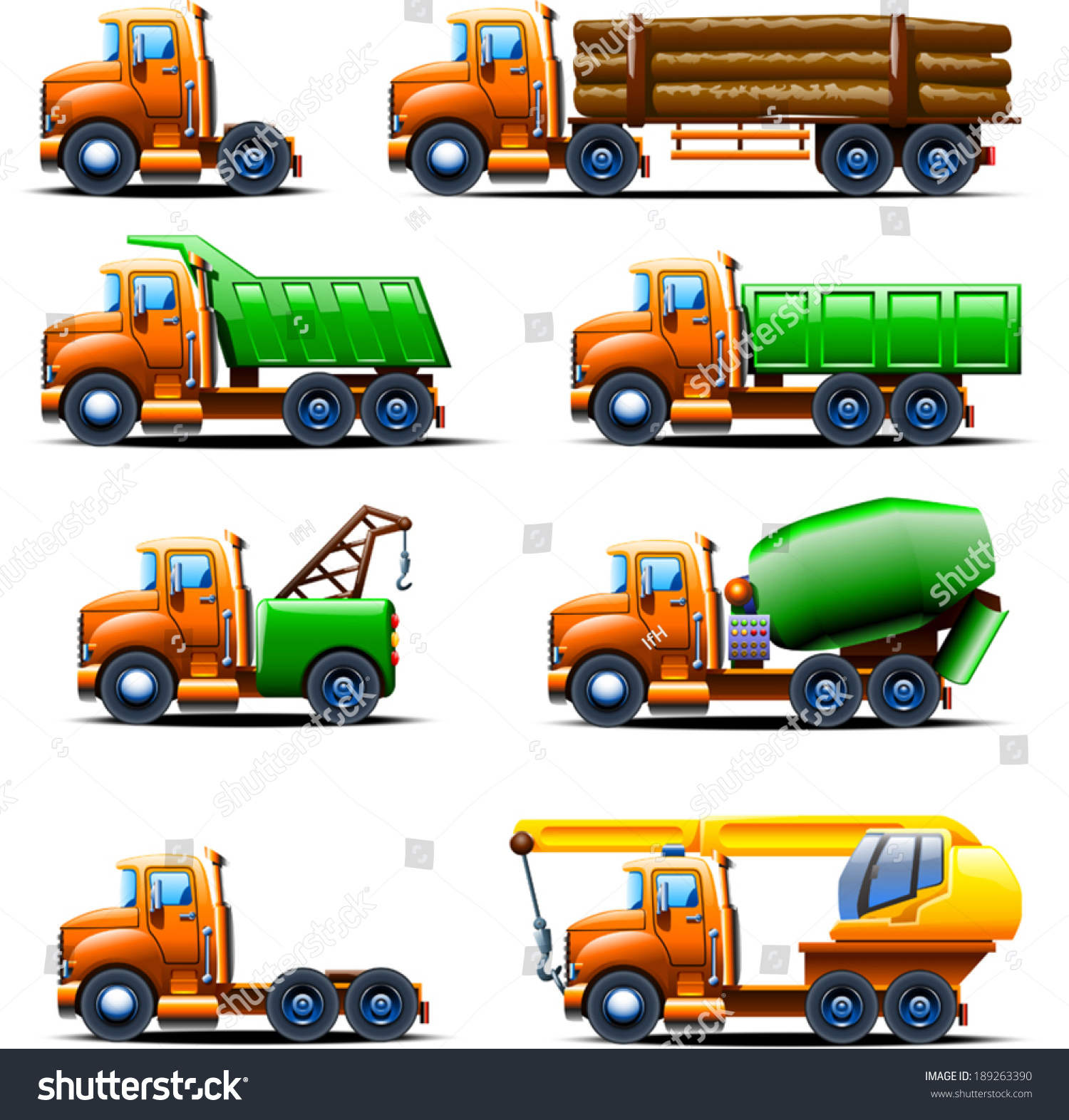Illustration Different Types Old Fashioned Trucks Stock Vector (2018 ...