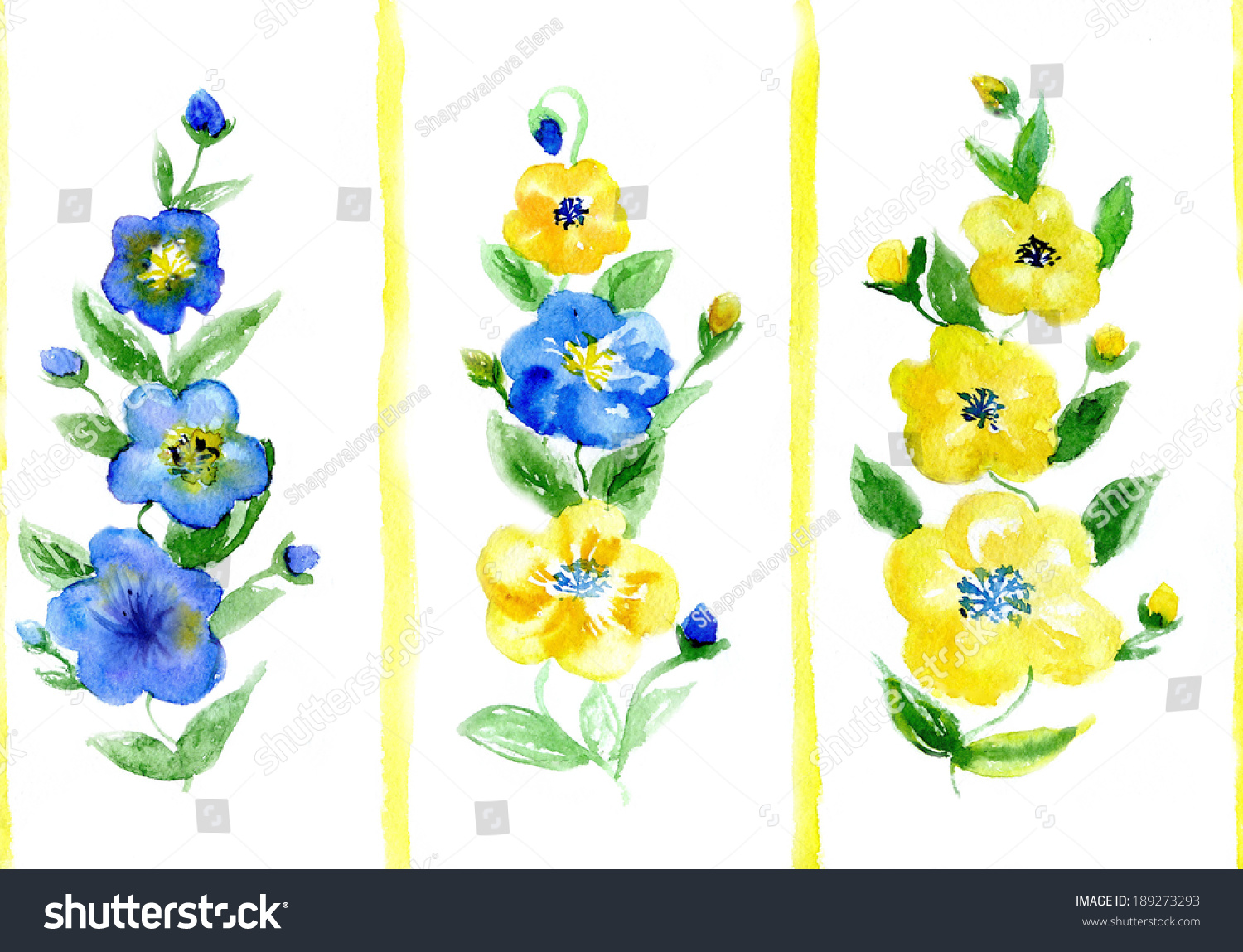Watercolor Dark Blue Yellow Flowers On Stock Illustration 189273293