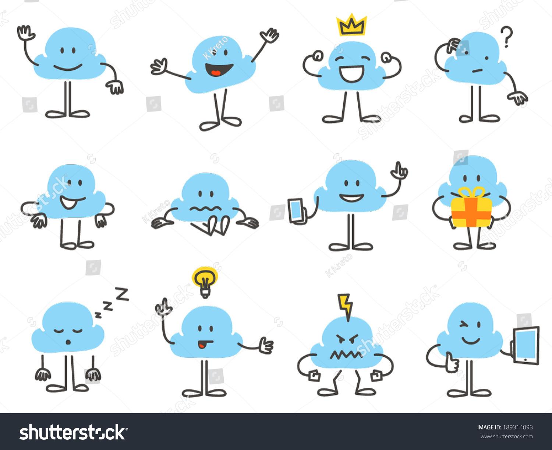 Character Design Vector : Simple cloud character design vector graphics set