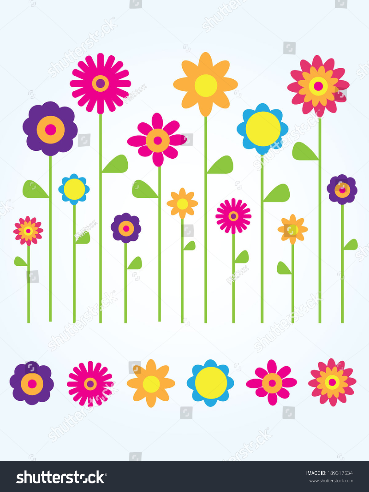 Collection cute fun vector spring flowers stok vektr 189317534 a collection of cute and fun vector spring flowers mightylinksfo