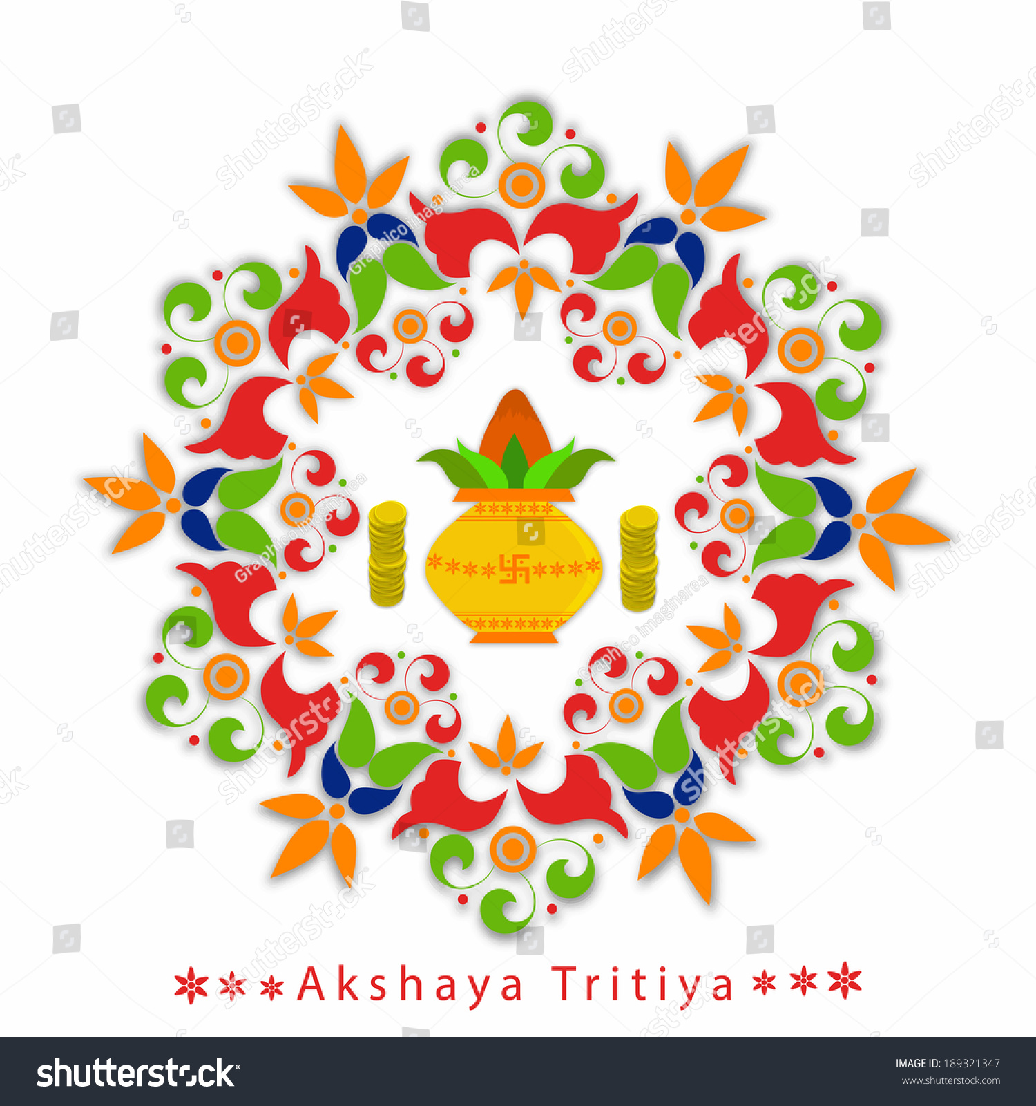 akshaya tritiya greeting background with coins kalash and floral frame festival of hindu and