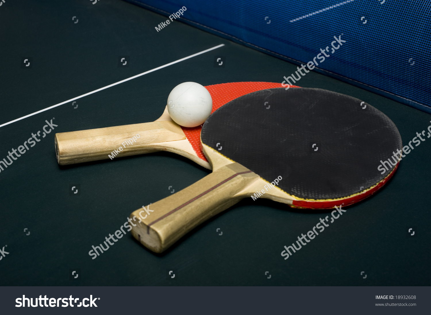 Ping pong or table tennis equipment or supplies on a playing surface stock photo 18932608 - Equipment for table tennis ...