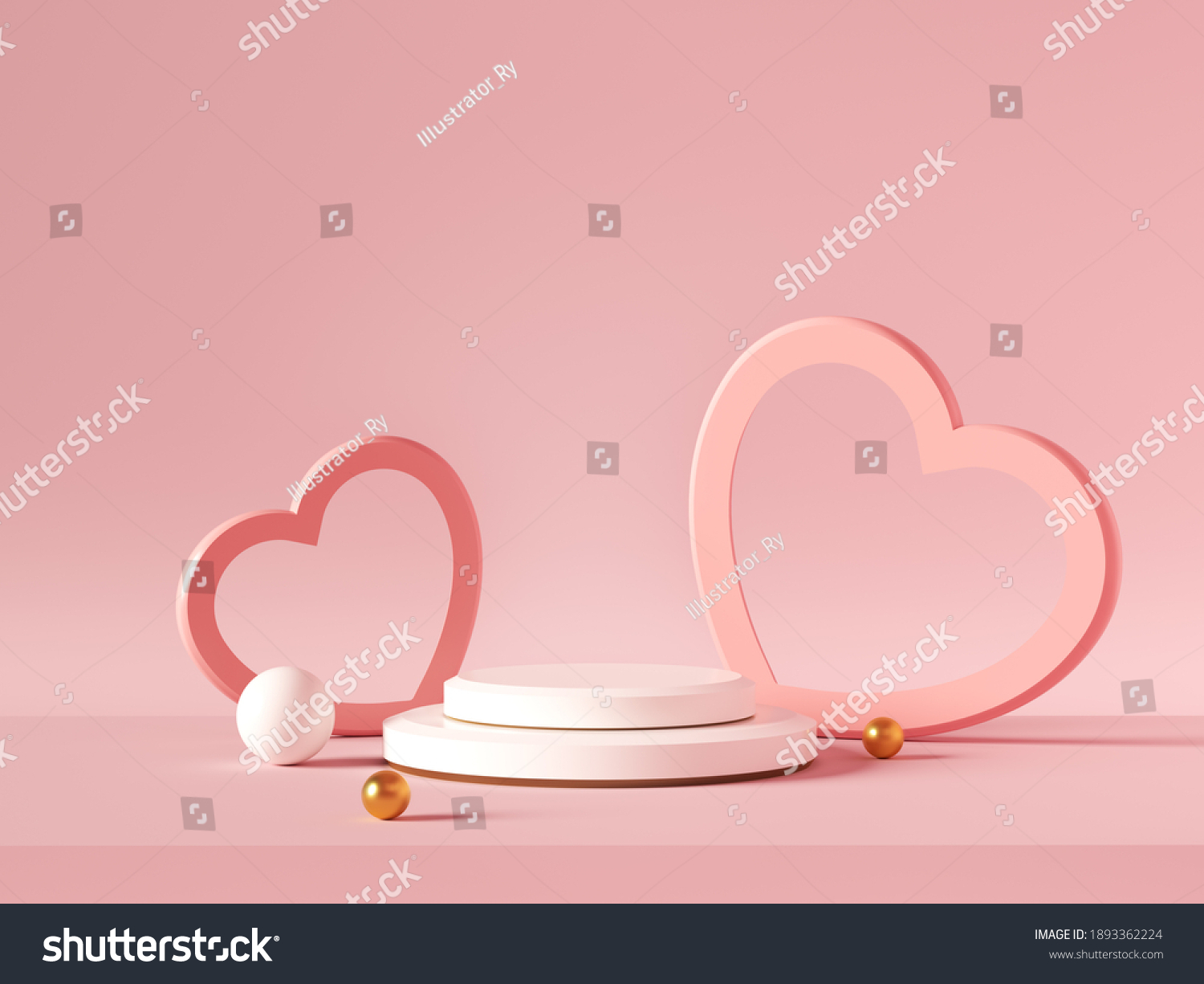 Minimal background, mock up with podium for product display,Abstract white geometry shape background minimalist Valentine's day pink background,Abstract mock up backgroundup 3D rendering. #1893362224