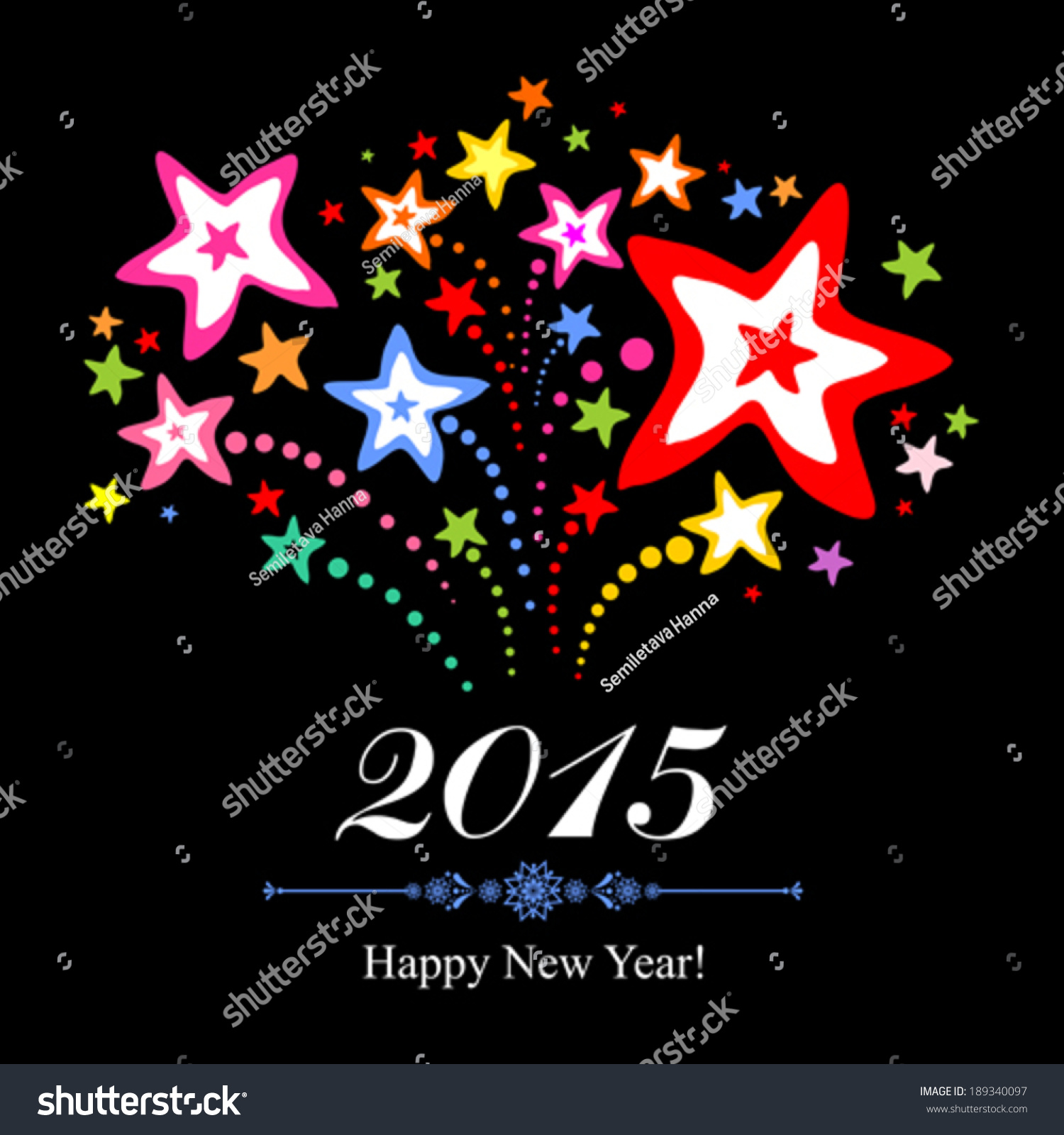 2015 Happy New Year Greeting Card Stock Vector 189340097 Shutterstock