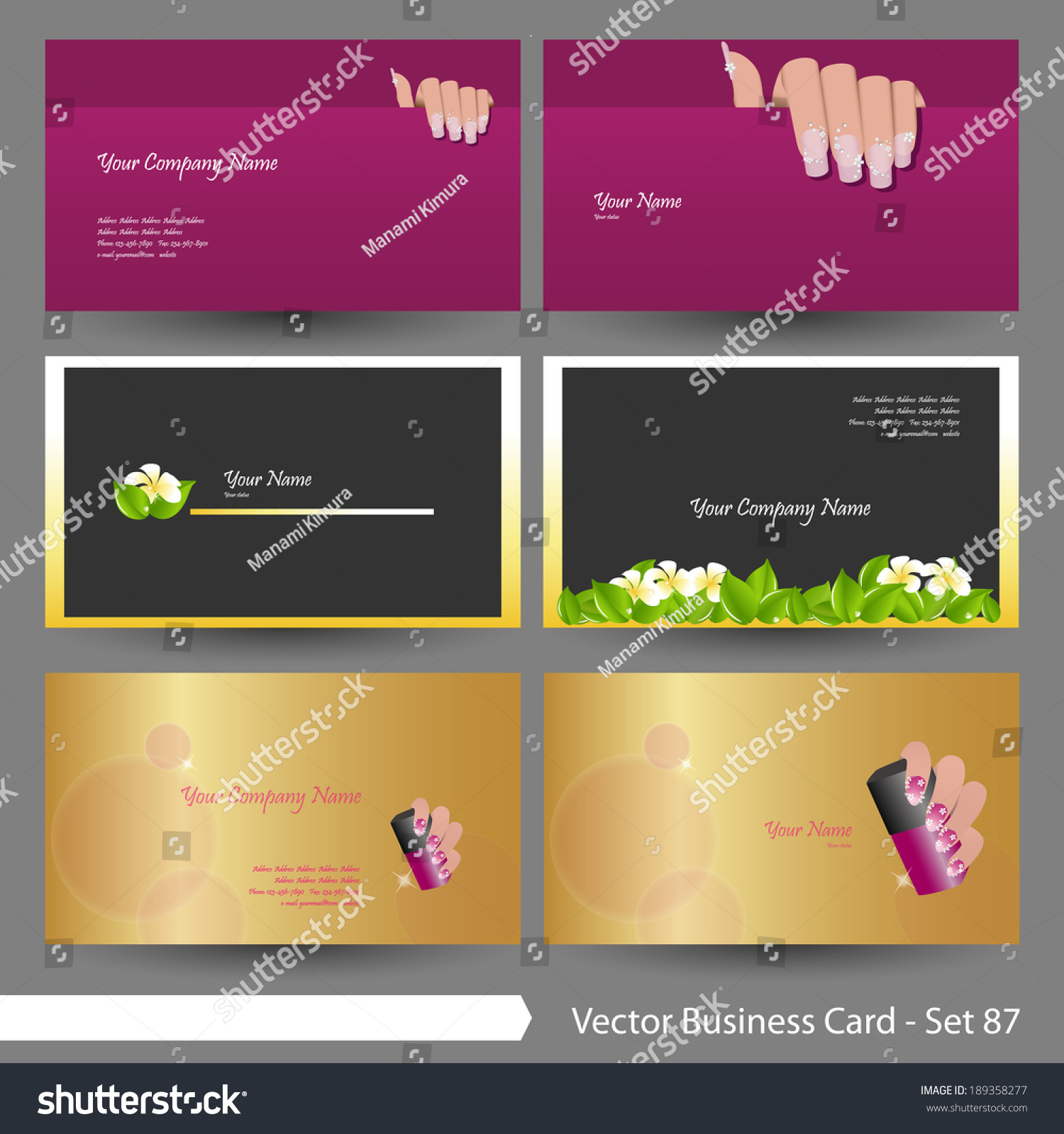Vector Business Card Template Set Beauty Stock Vector 189358277 ...