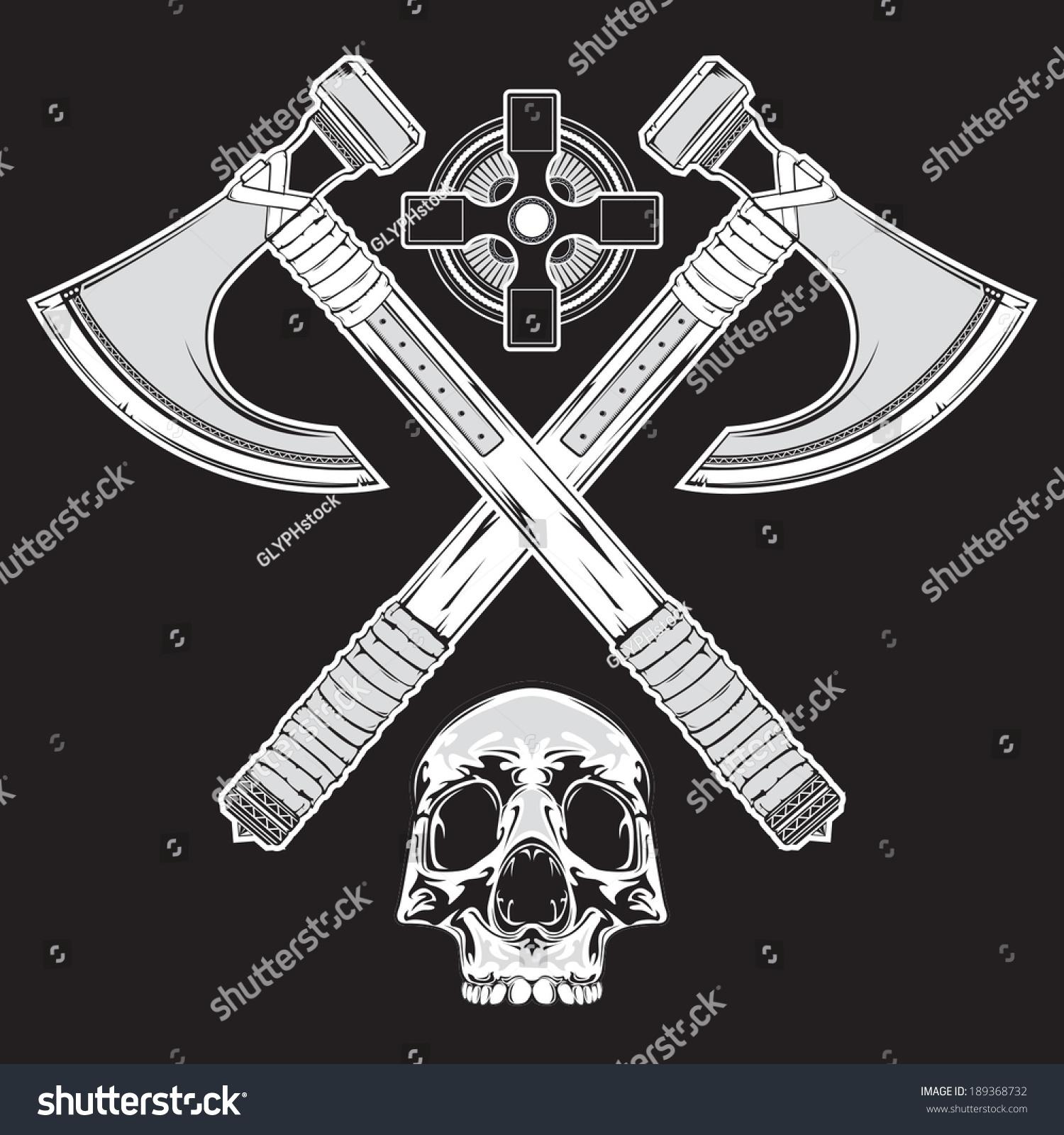 tattoo style illustration crossed battle axes stock vector 189368732 shutterstock. Black Bedroom Furniture Sets. Home Design Ideas