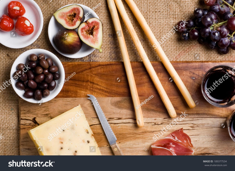 Italian Table Setting Italian Antipasto Table Setting With Pecorino Cheese Wine Figs