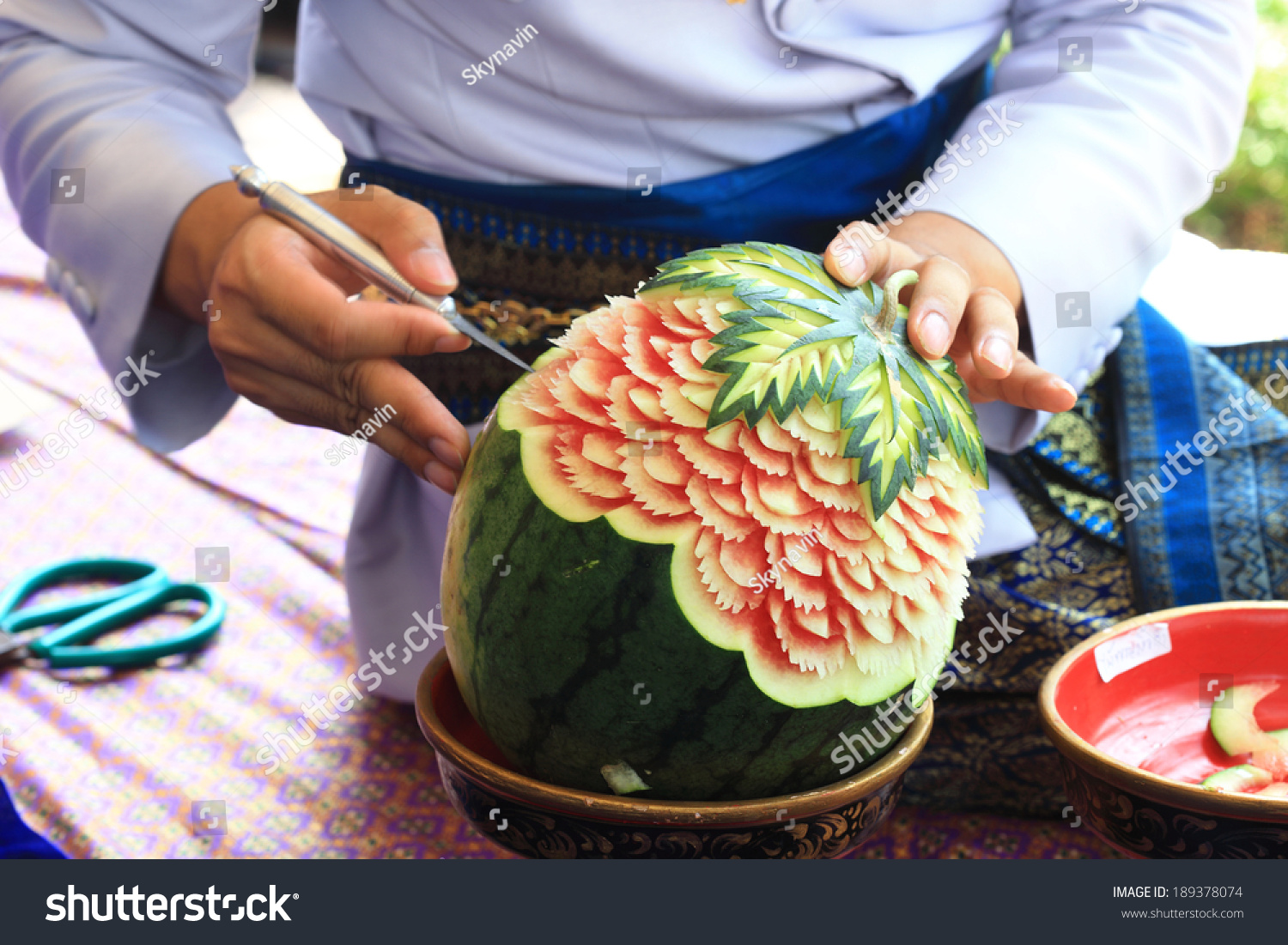 Watermelon carving stock photo safe to use  shutterstock