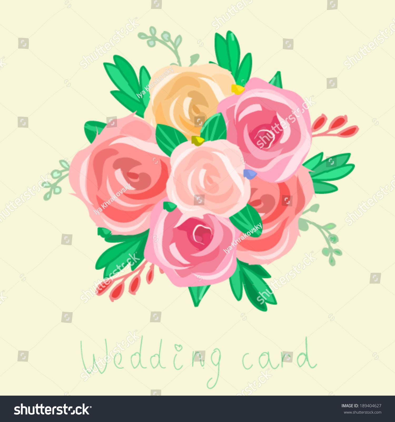 Flower Bouquet Vector Background Wedding Invitation Stock Vector