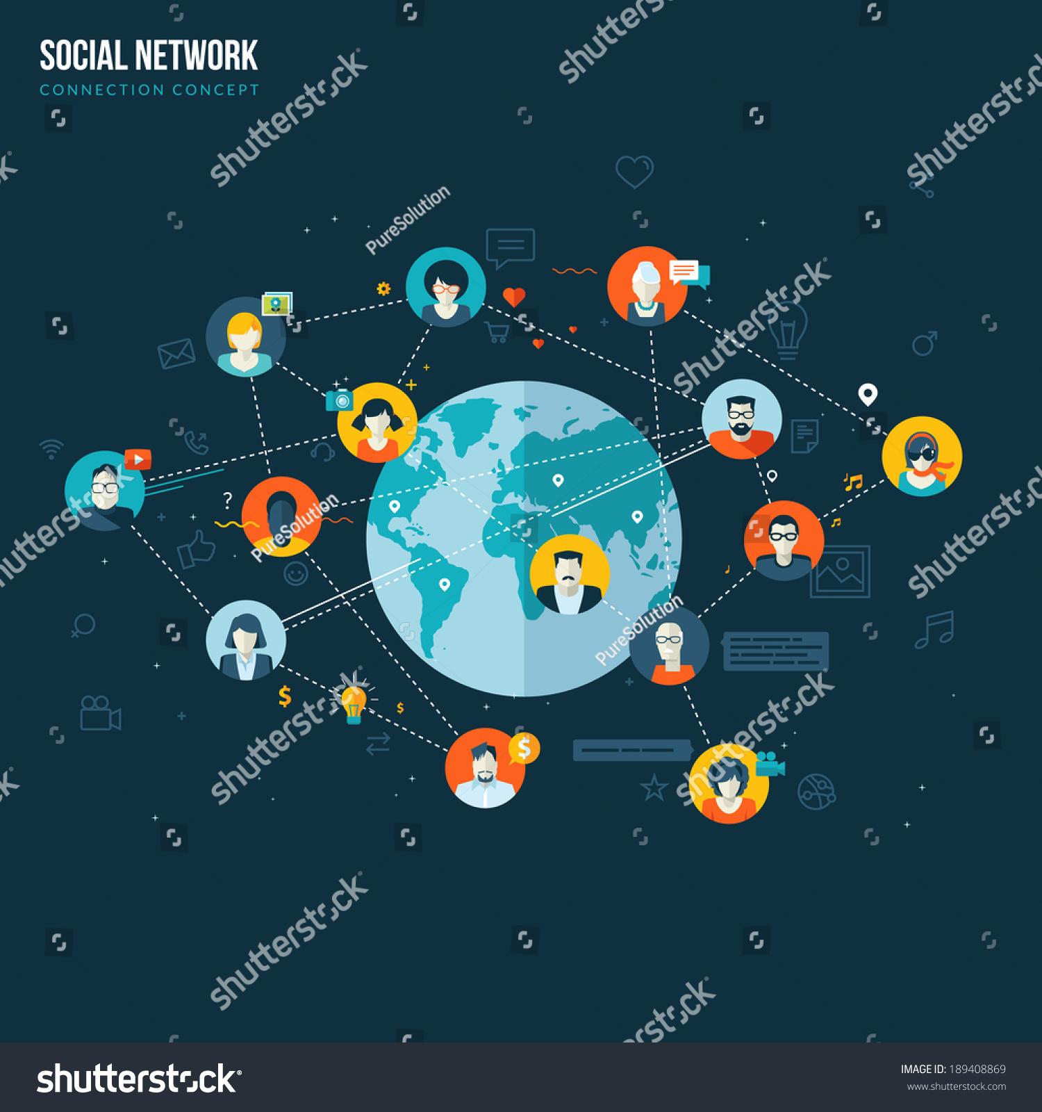 Flat Design Concept Social Network Concepts Stock Vector Royalty Free 189408869