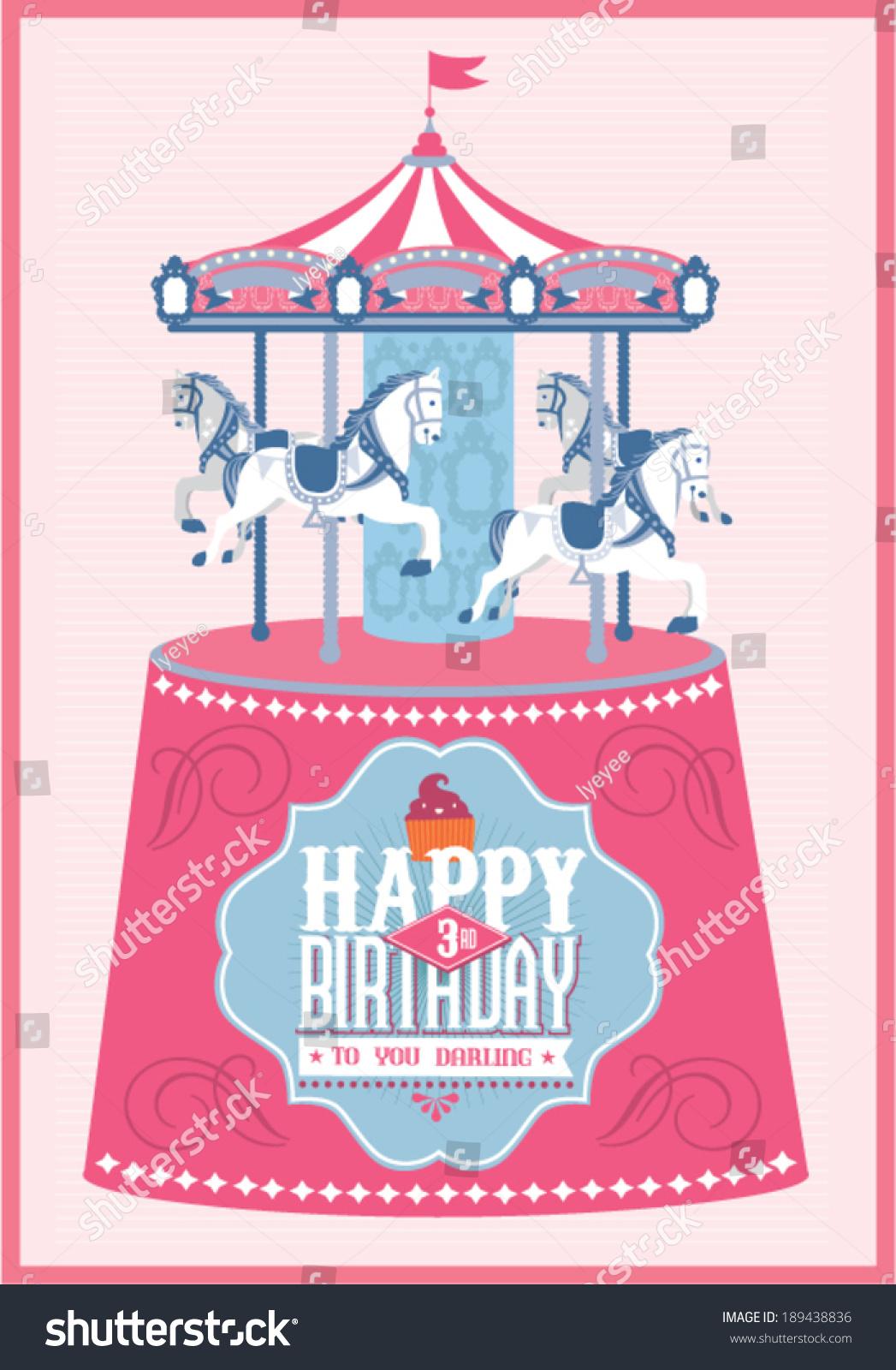 Carouselmerry go round birthday card template stock vector for Merry go round horse template