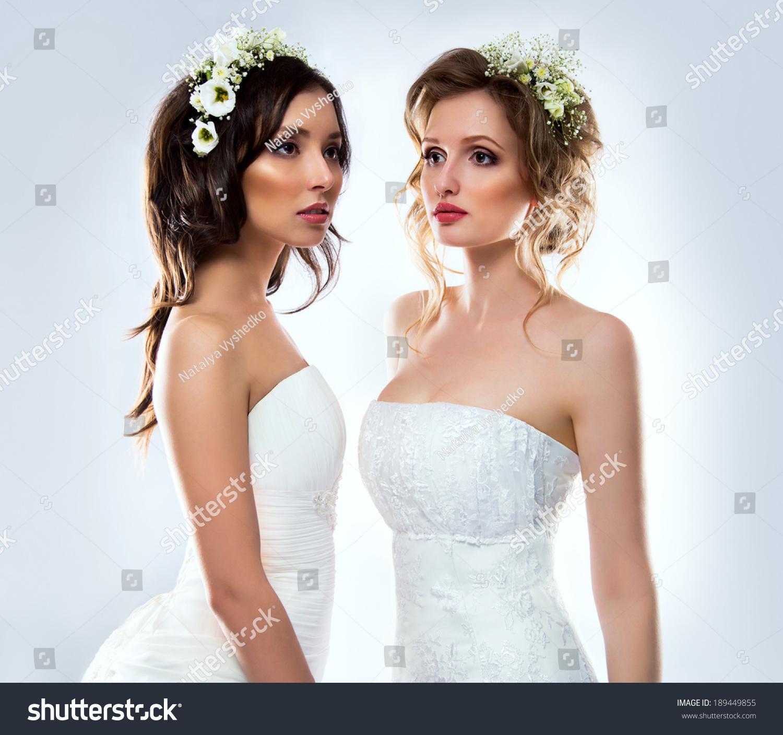 Beautiful Bride Wearing White Wedding Dress Stock Photo (100% Legal ...