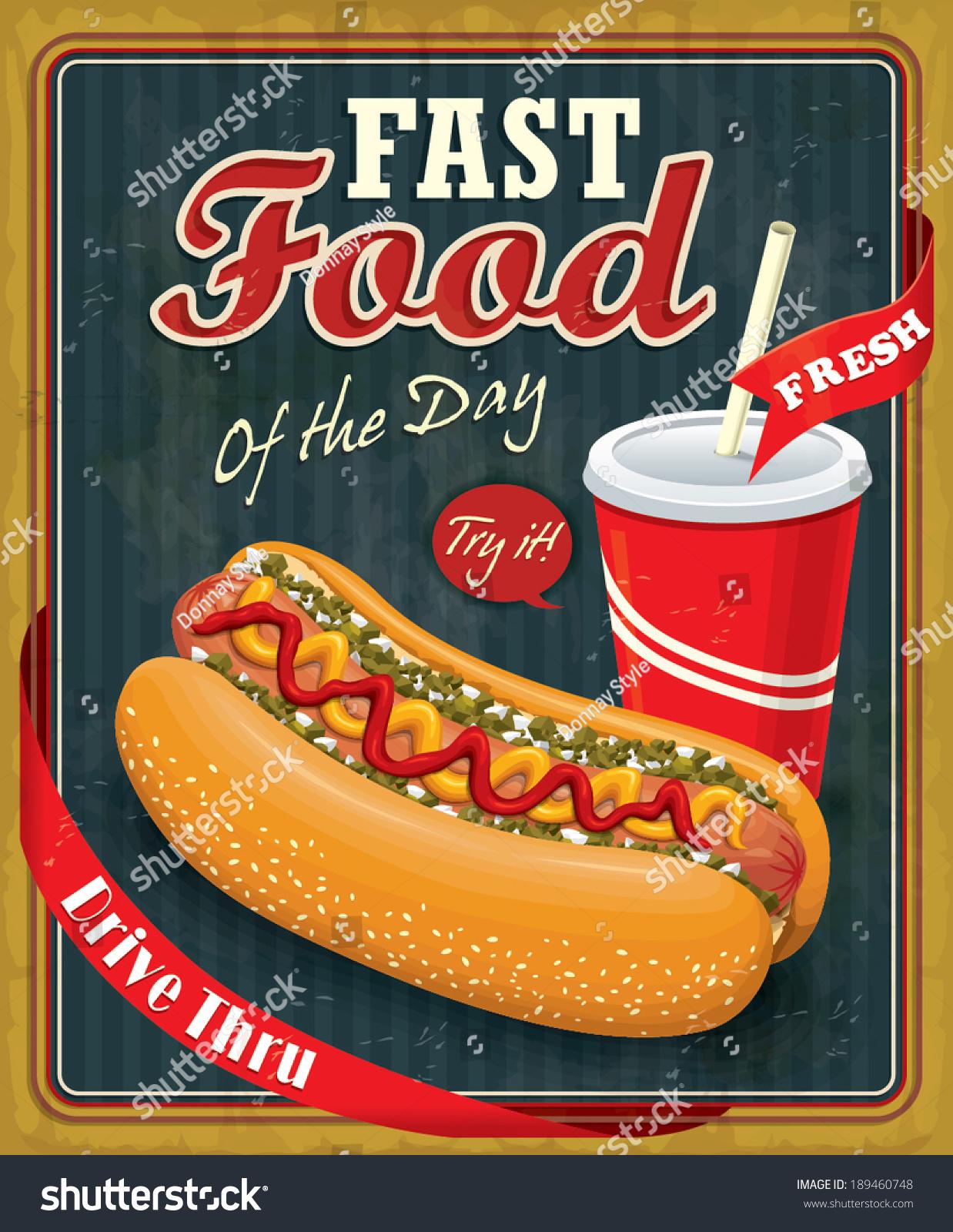 Poster design vintage - Vintage Hot Dog With Drink Poster Design