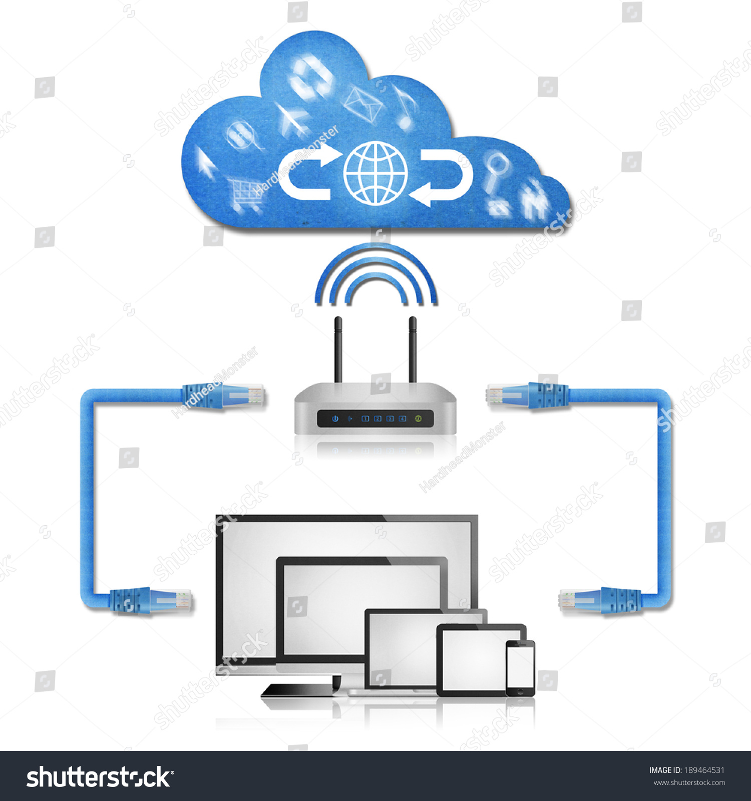 Home Wireless Network Diagram Wifi Detailed Schematic Diagrams Isolated Paper Cut Stock Illustration 189464531 Computer
