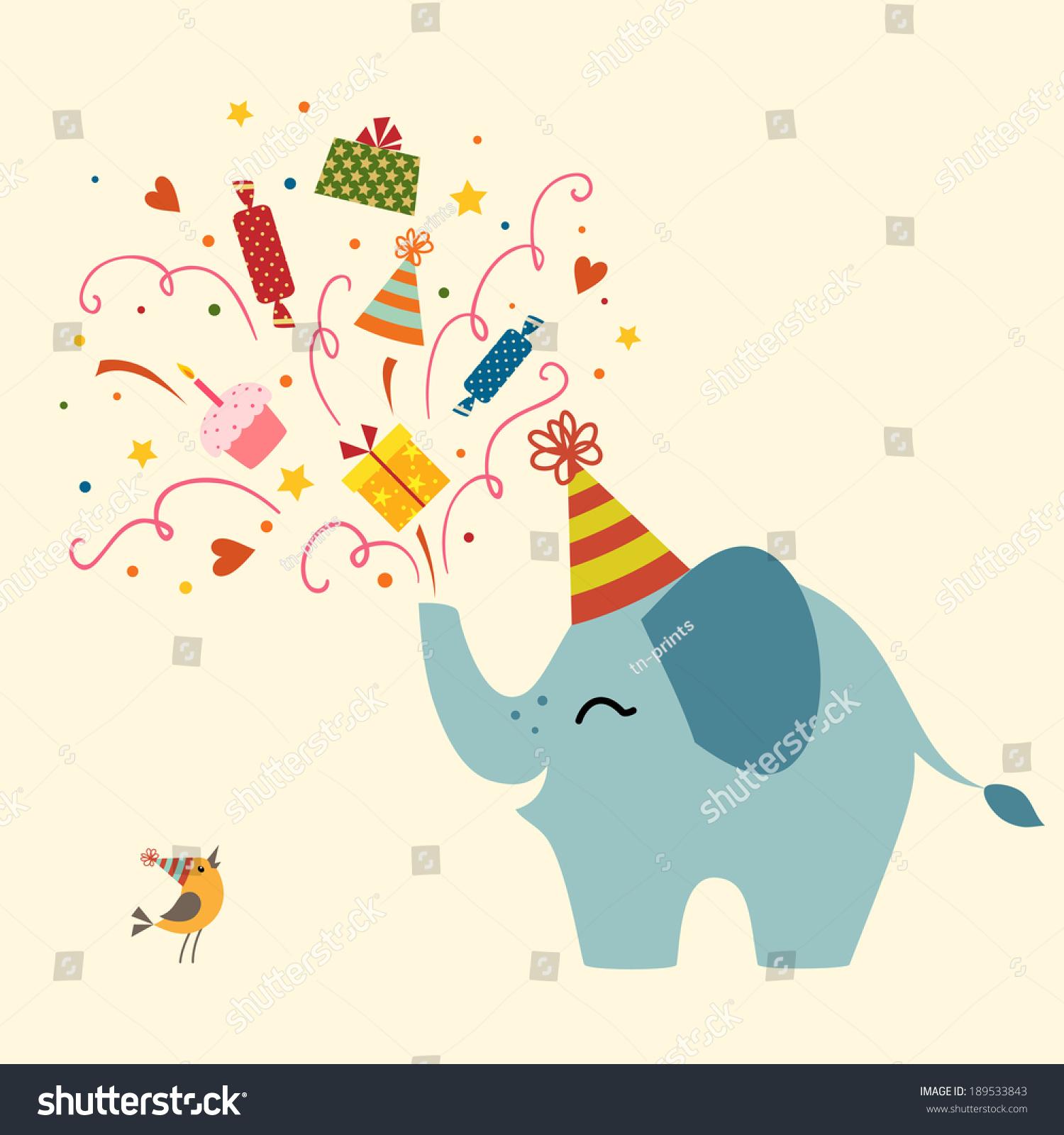 Birthday Greetings Cute Elephant Stock Vector 189533843 Shutterstock