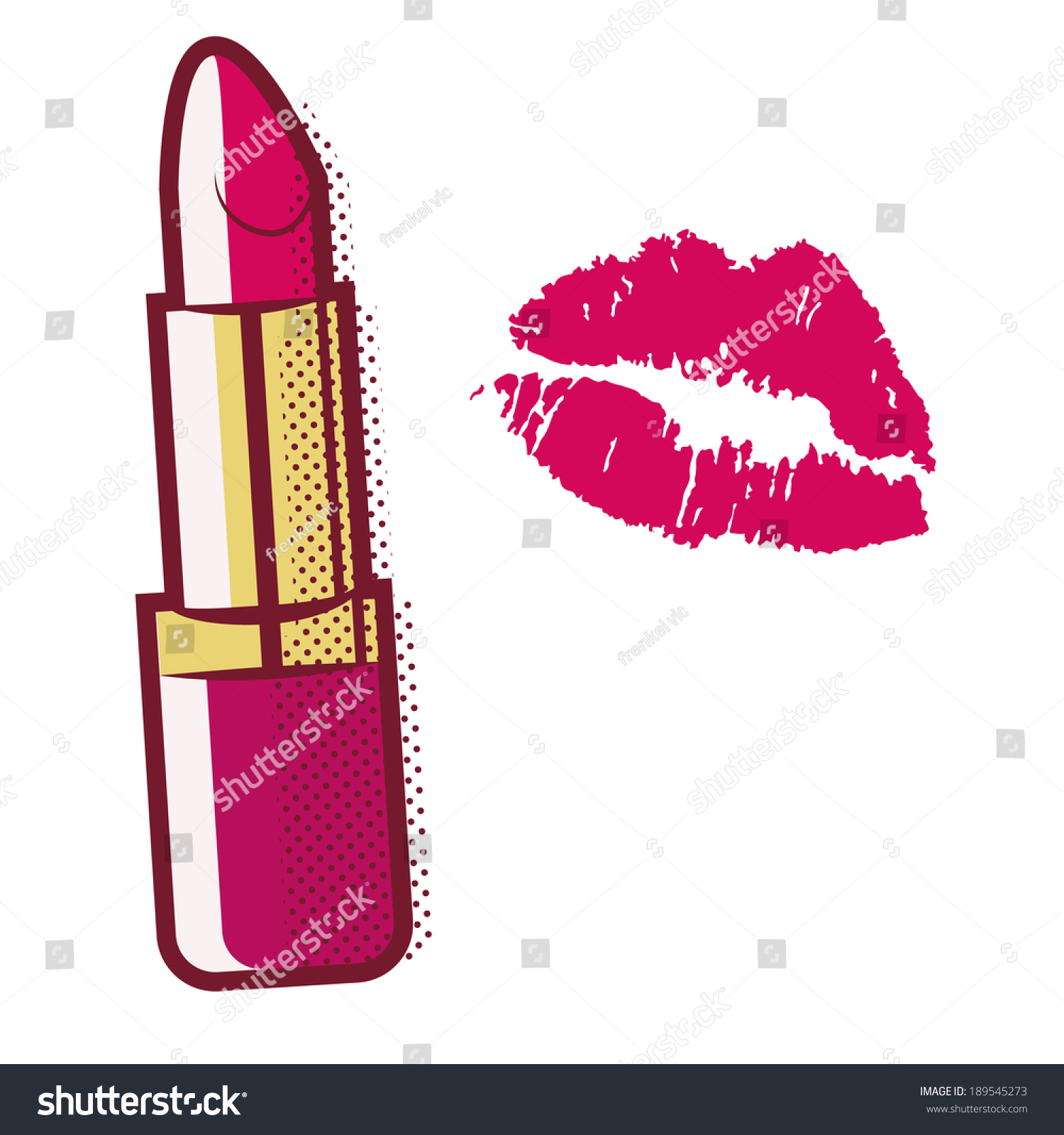 vector illustration lipstick comics style stock vector