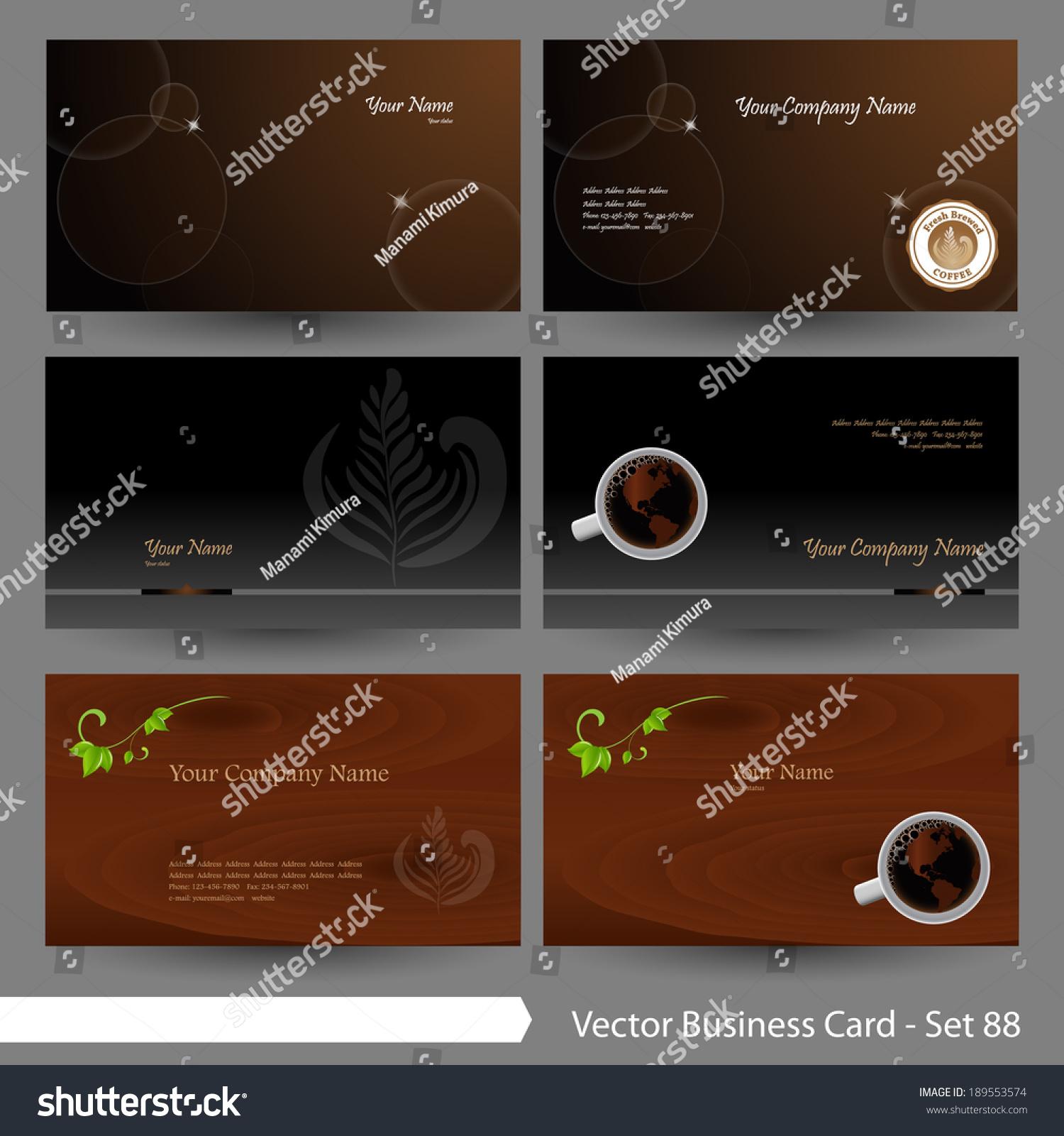 vector business card template set restaurant stock vector