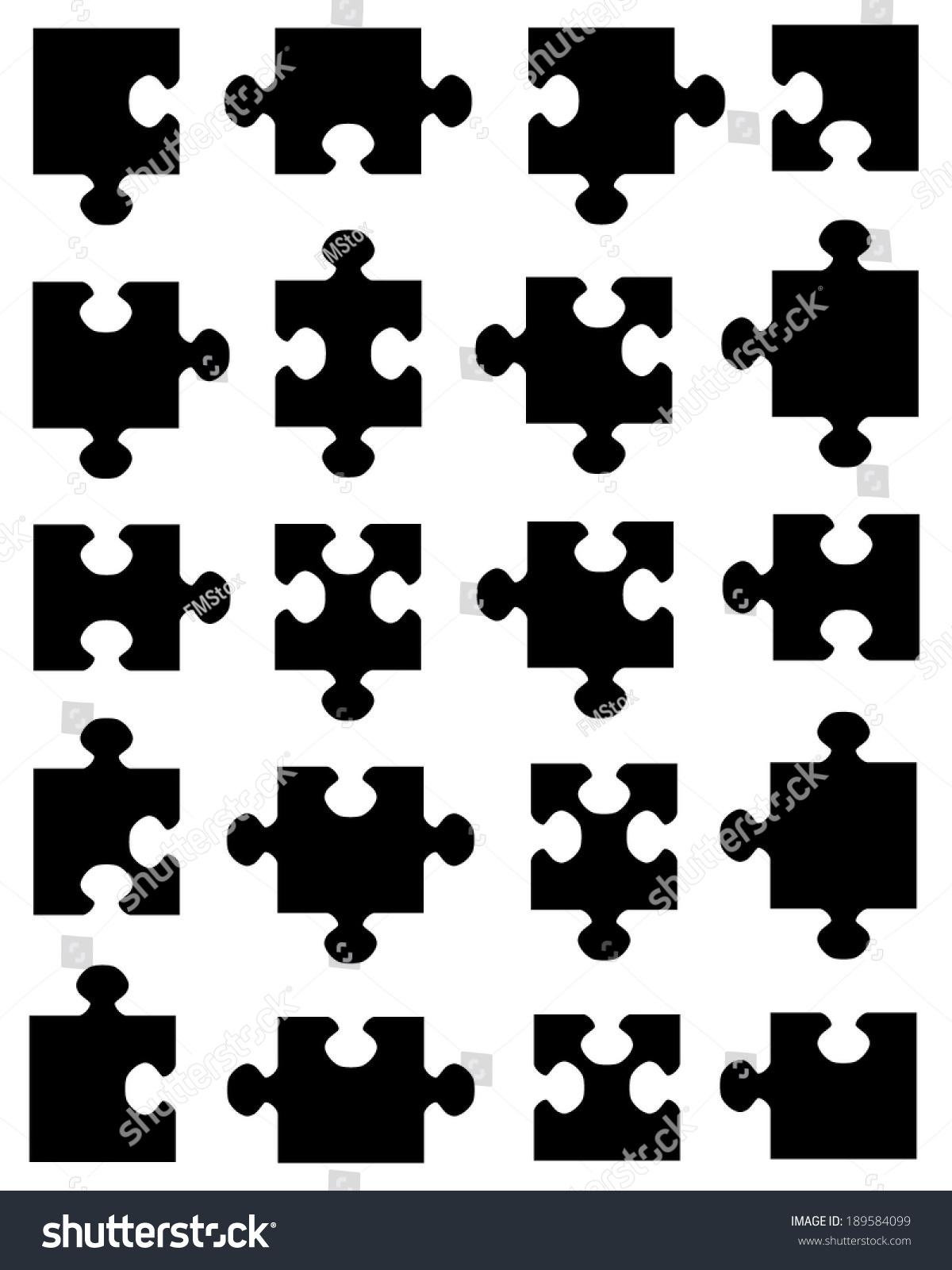 Collection Vector Jigsaw Puzzle Pieces Stock Vector 189584099 ...