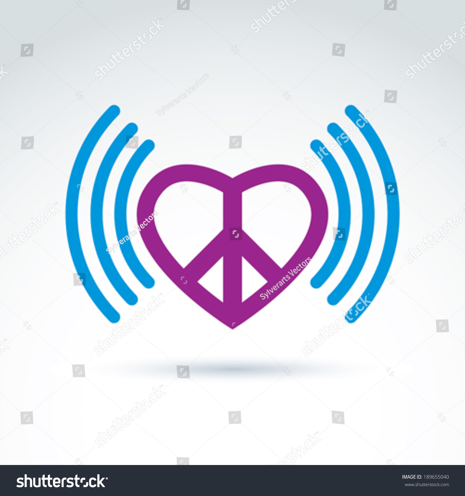 Vector loving heart icon peace symbol stock vector 189655040 vector loving heart icon with peace symbol from 60th podcast sign on antiwar and love biocorpaavc