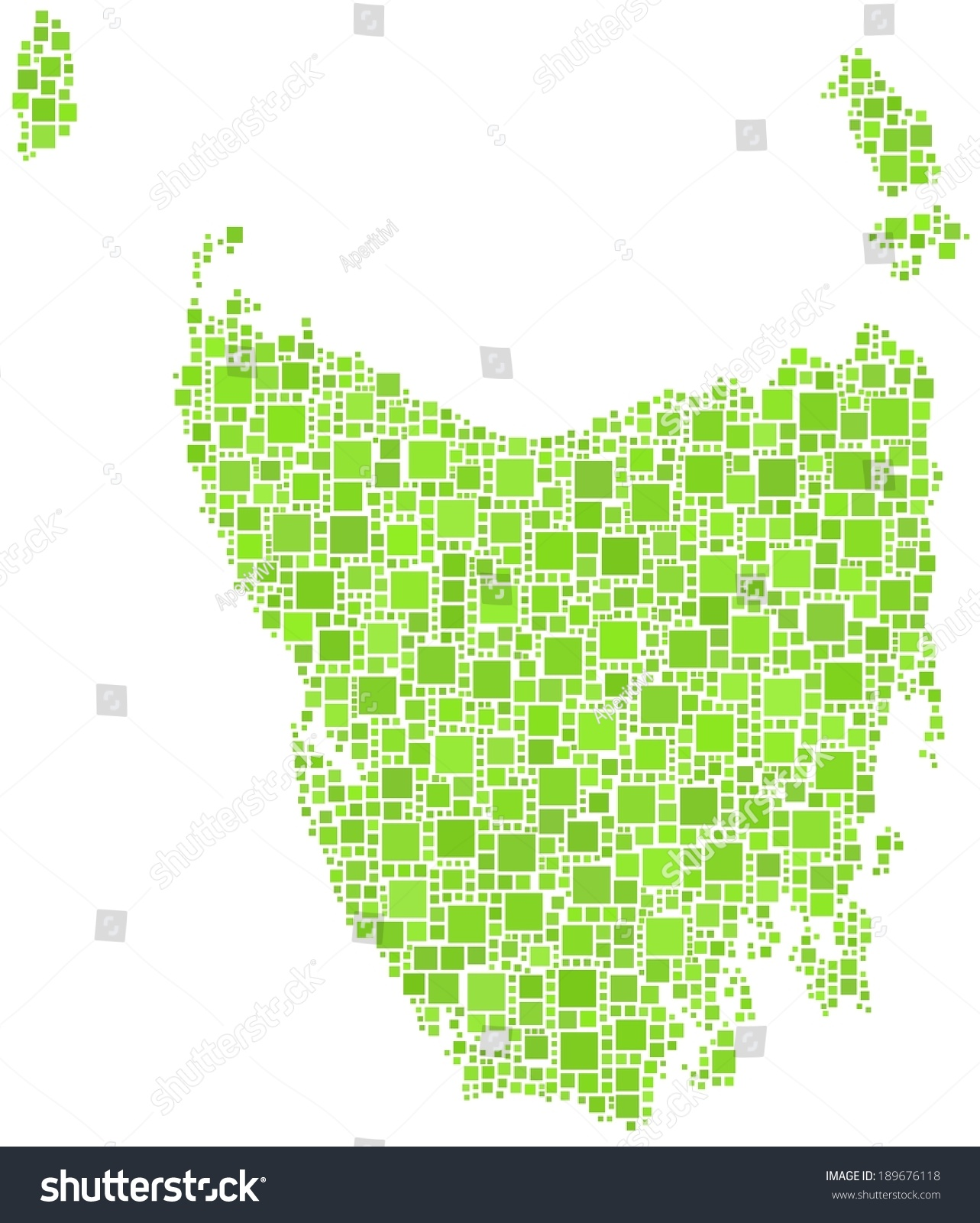 Was Tasmania Joined To Australia Stock Vector Map Of The State Of Tasmania