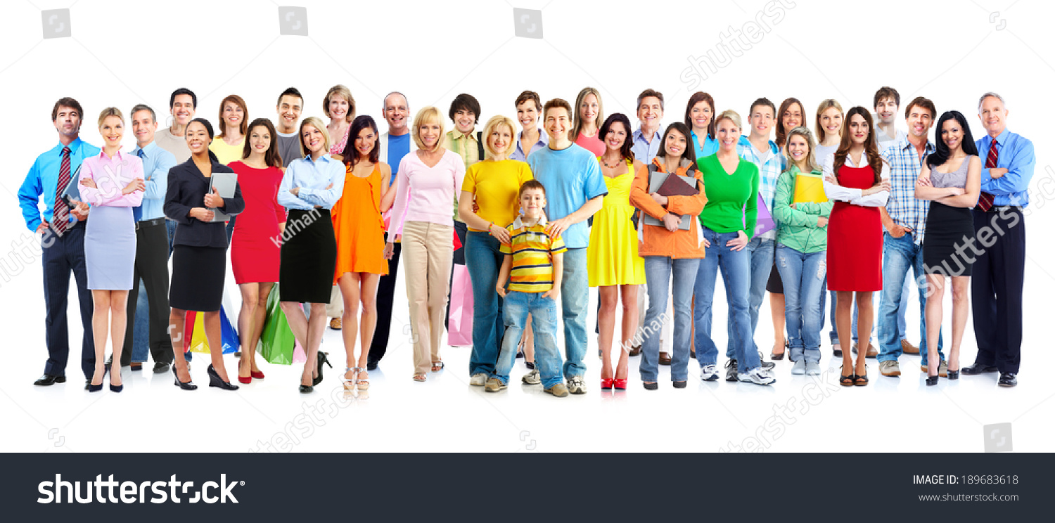 Big Family People Group Isolated White Stock Photo 189683618 ...