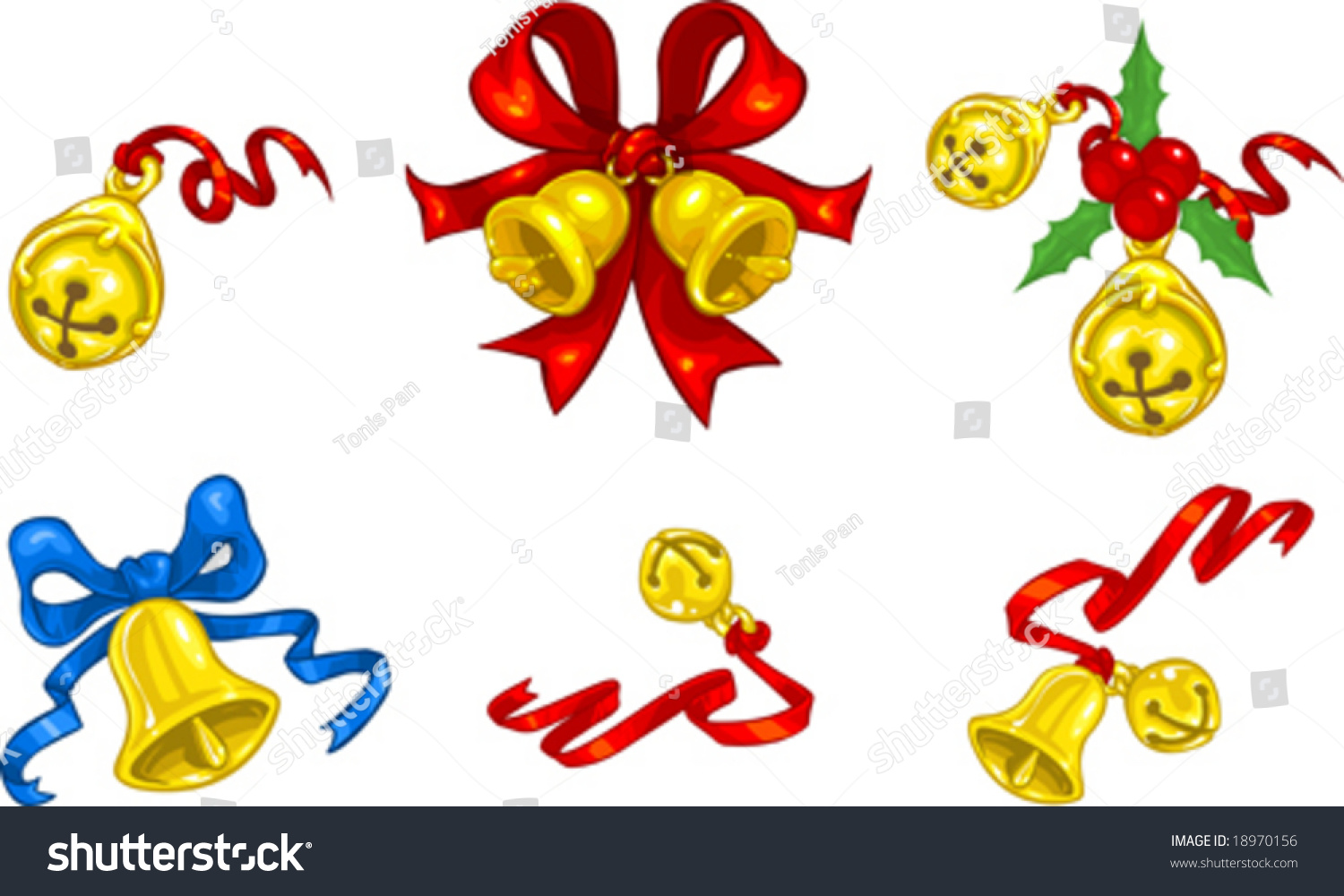 Vector Clip Art Illustration Of Christmas Bells And Jingle Bells With  Ribbons And Bows. Hand