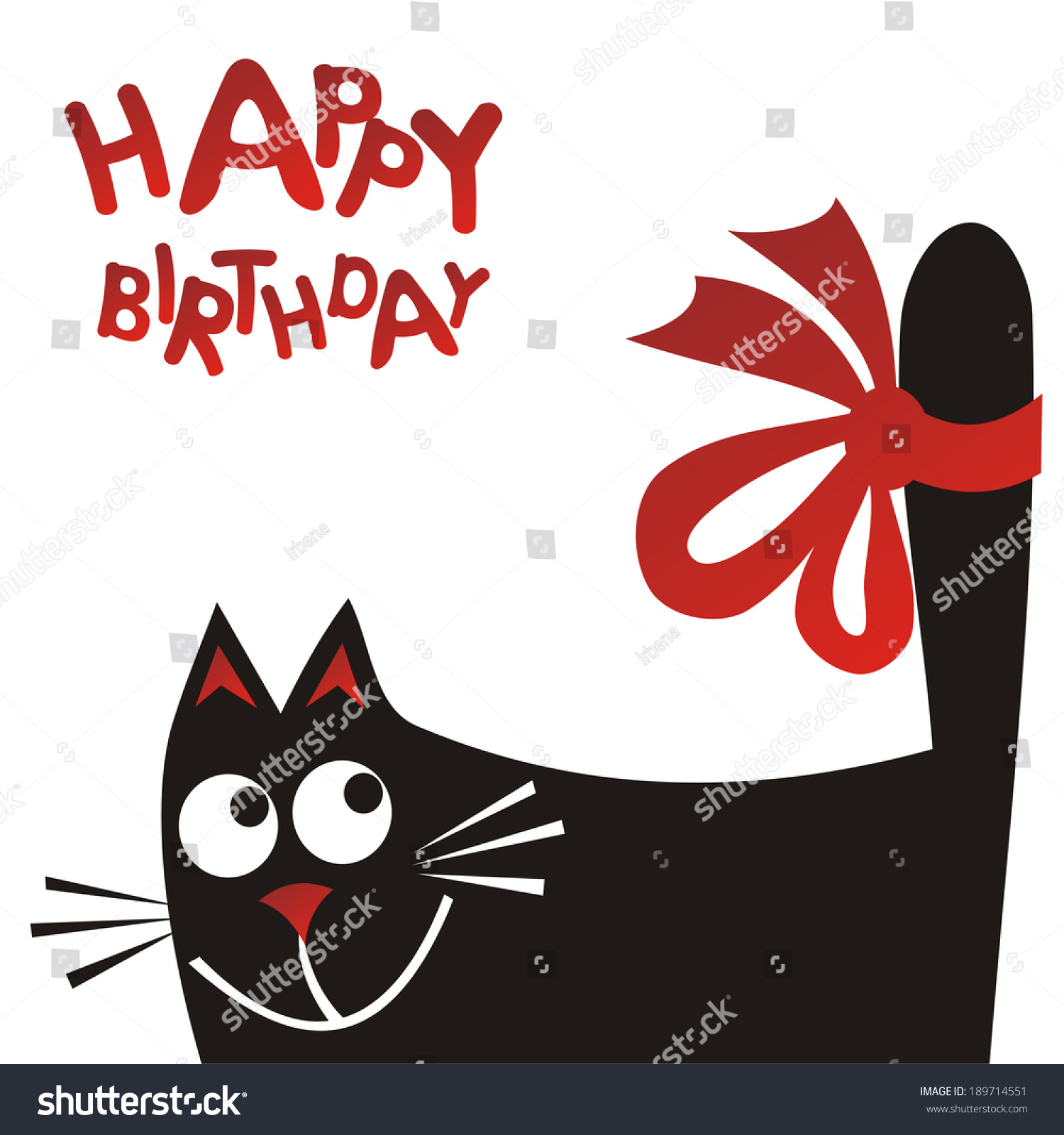 Happy Birthday Greeting Card Cat Vector Stock Vector Royalty Free