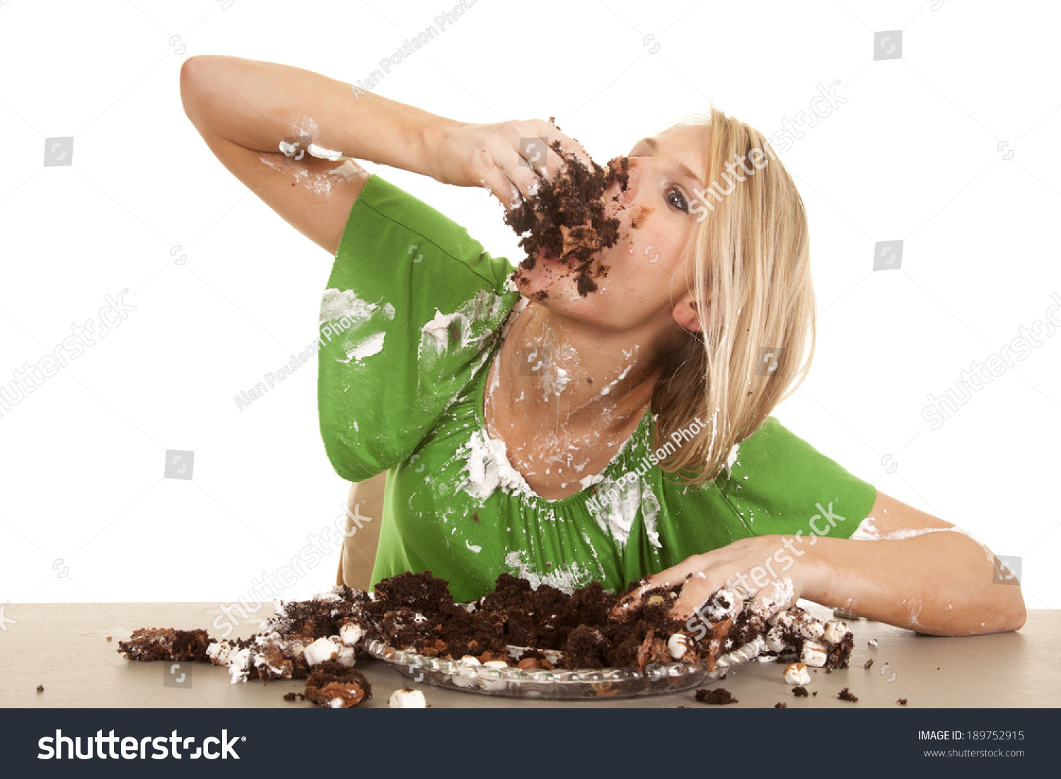 Woman Stuffing Her Face Chocolate Cake Stock Photo