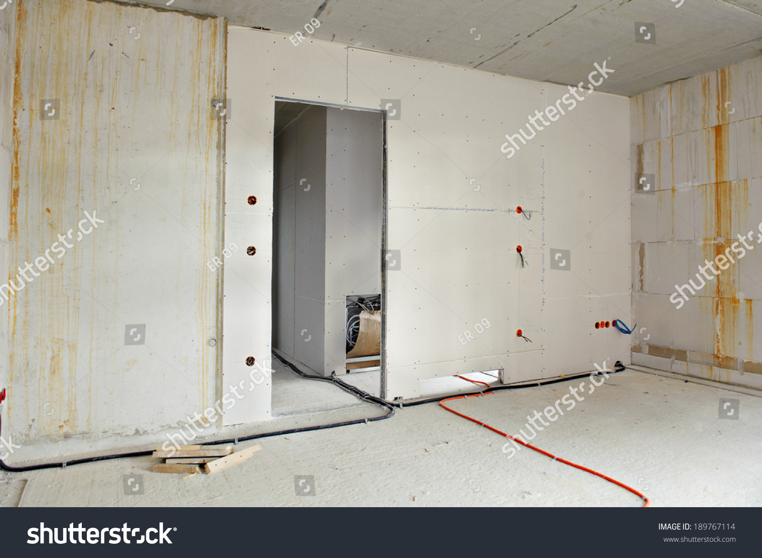 Interior Construction Building Site Electrical Installation Stock ...